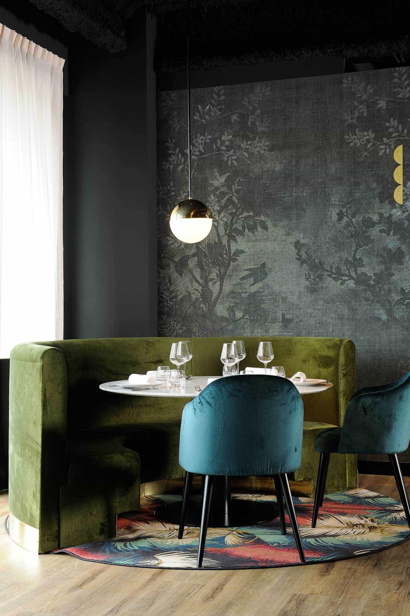 Emily Henderson Modern Victorian Trend Eclectic Boho Moody Velvet Tufted Fringe Detailed Dramatic Living Room Bedroom 15