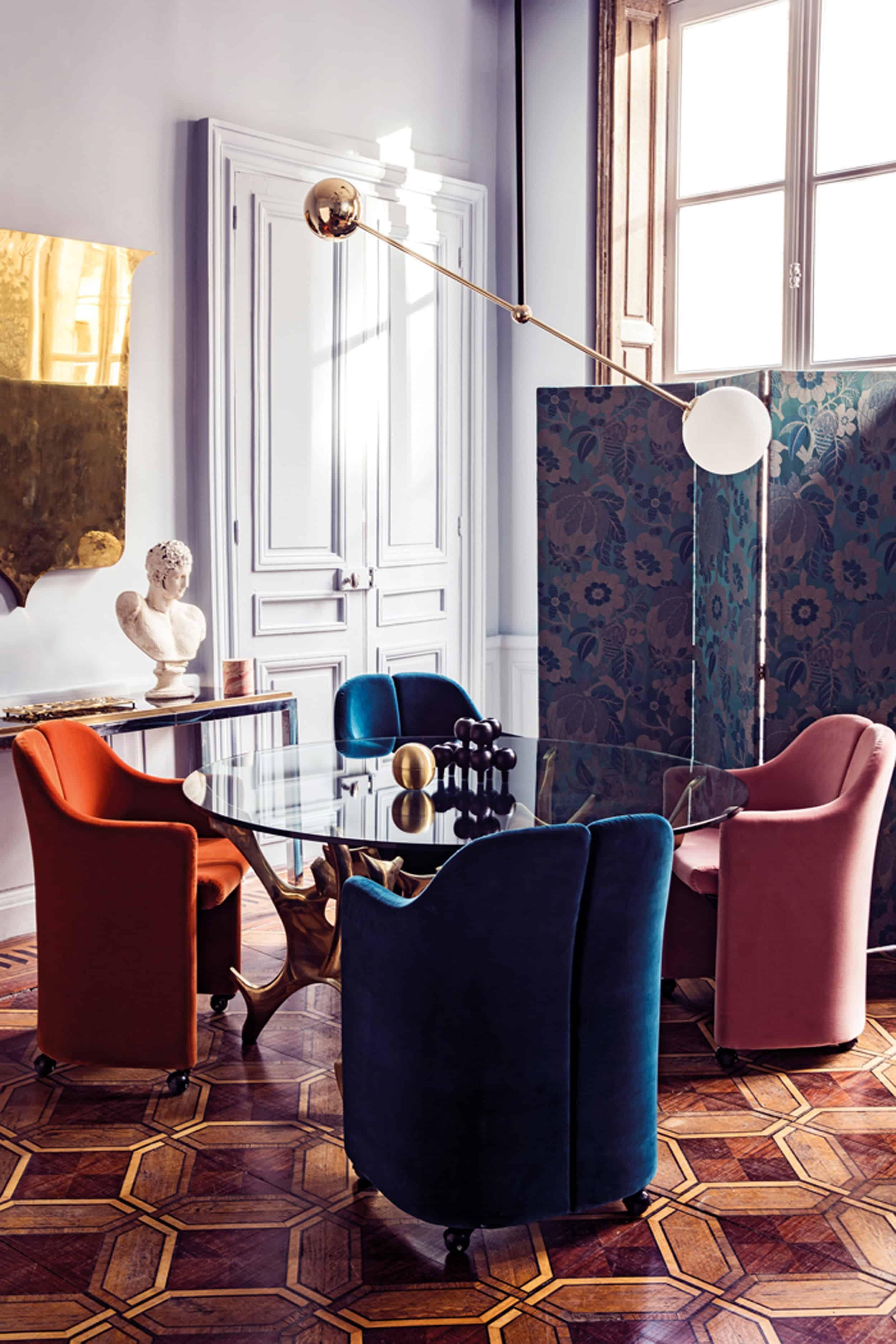 Emily Henderson Modern Victorian Trend Eclectic Boho Moody Velvet Tufted Fringe Detailed Dramatic Living Room Bedroom 7