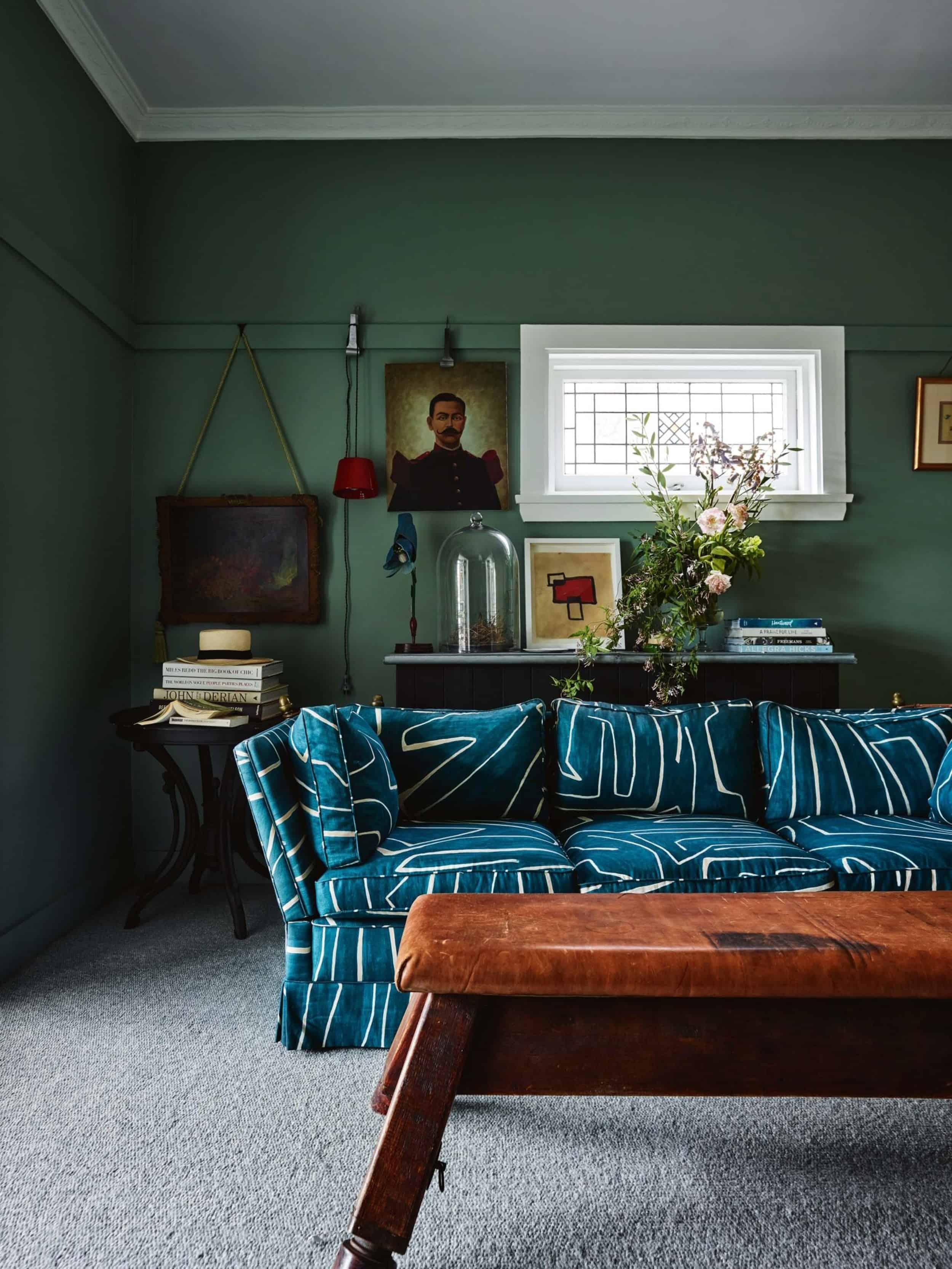 Emily Henderson Modern Victorian Trend Eclectic Boho Moody Velvet Tufted Fringe Detailed Dramatic Living Room Bedroom 9