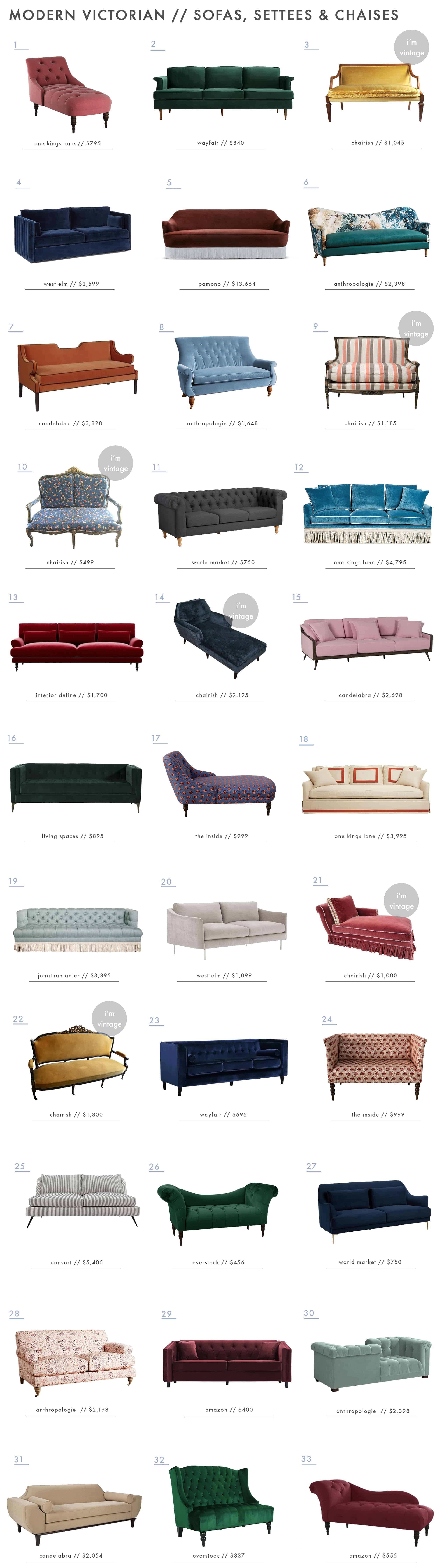 Emily Henderson Modern Victorian Trend Furniture Sofas Chaise Settee Roundup
