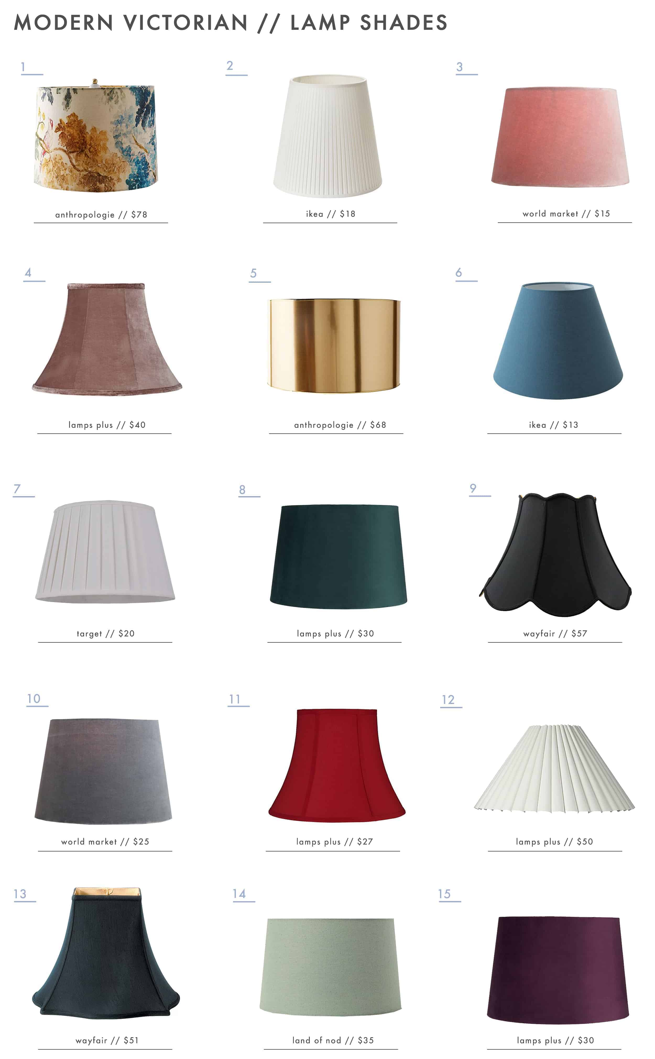 Emily Henderson Modern Victorian Trend Lighting Lamp Shades Roundup