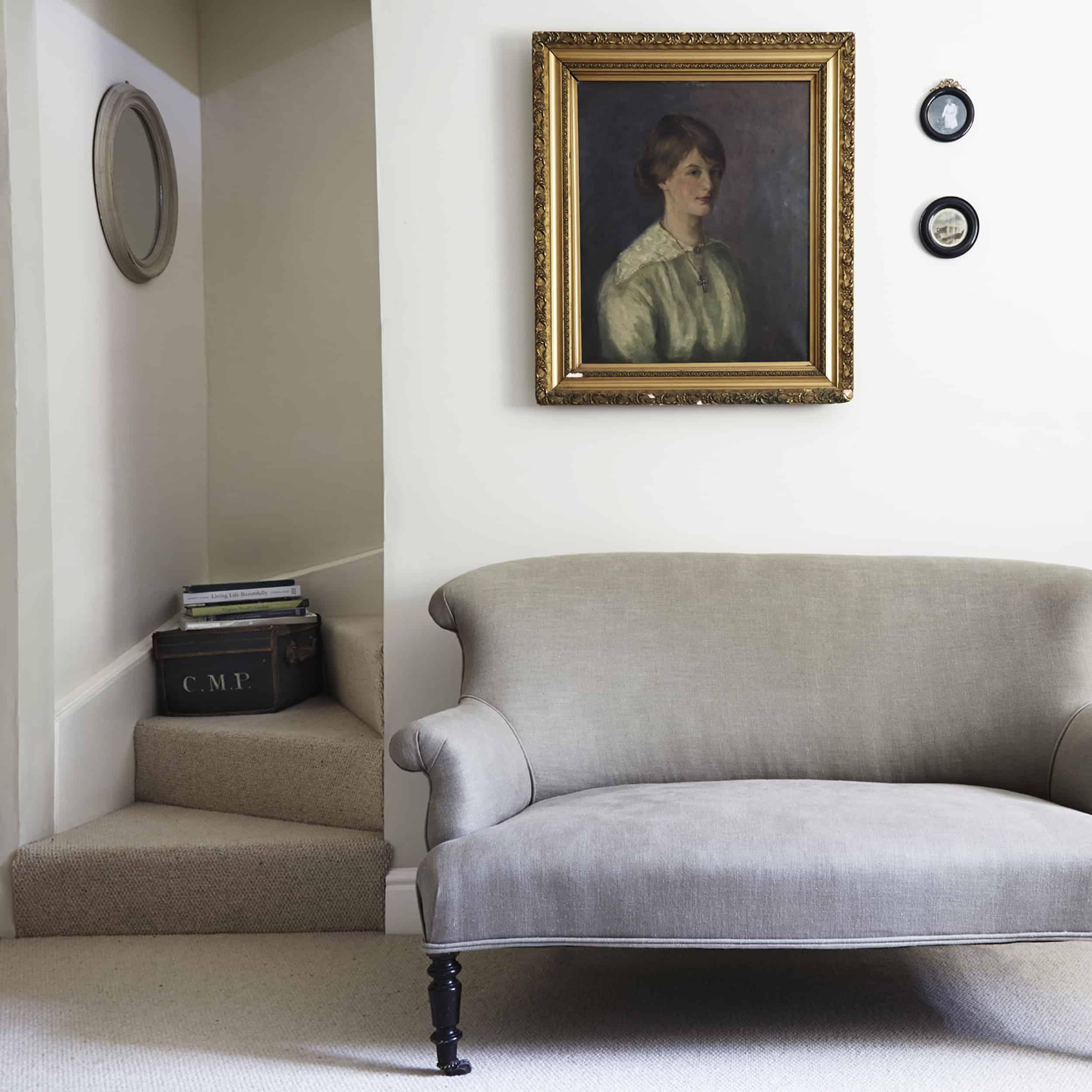 Modern Victorian gray velvet settee vintage portrait