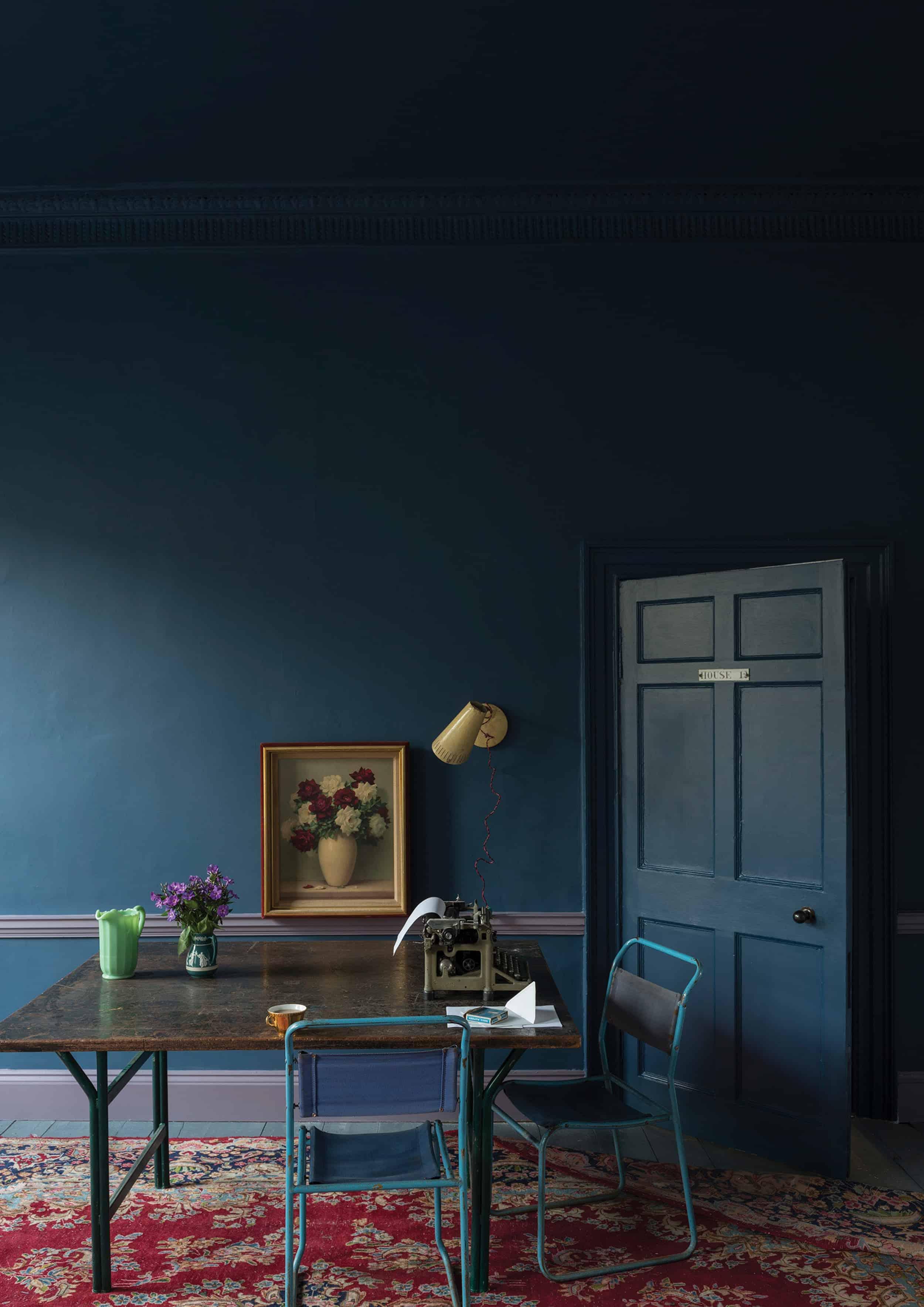 Modern Victorian blue room floral art
