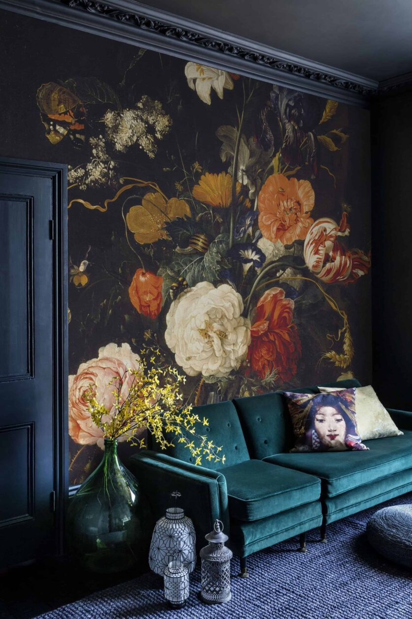 Modern Victorian large scale floral wallpaper teal sofa