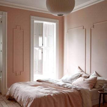 Modern Victorian pink bedroom moulding large windows