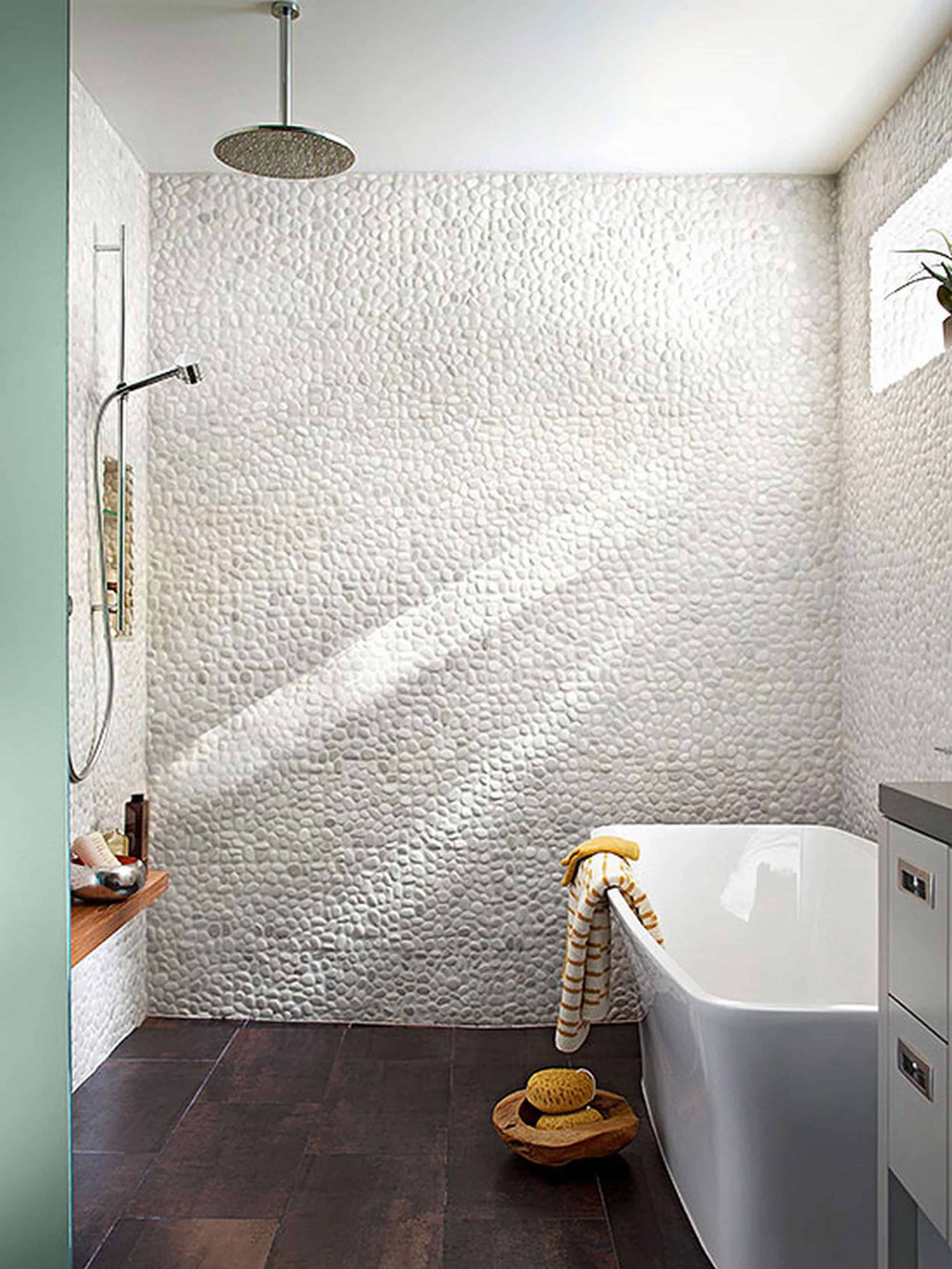 Emily Henderson Mountain Fixer Upper Rethink The Pebble Bathrooms free standing tub