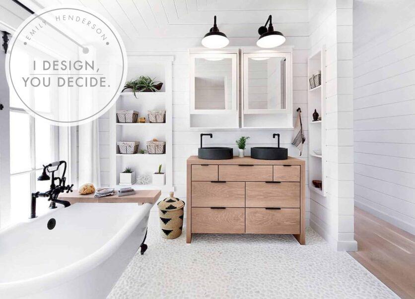 Emily Henderson Mountain Fixer Upper Rethink The Pebble Bathrooms Header Image