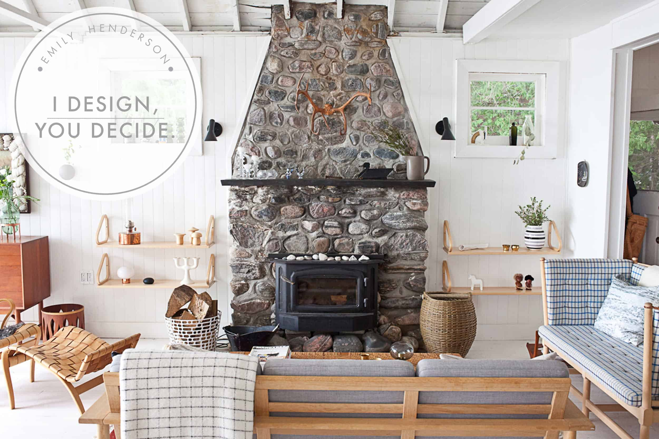 Emily Henderson Mountain Fixer Fireplace Header Image With Graphic