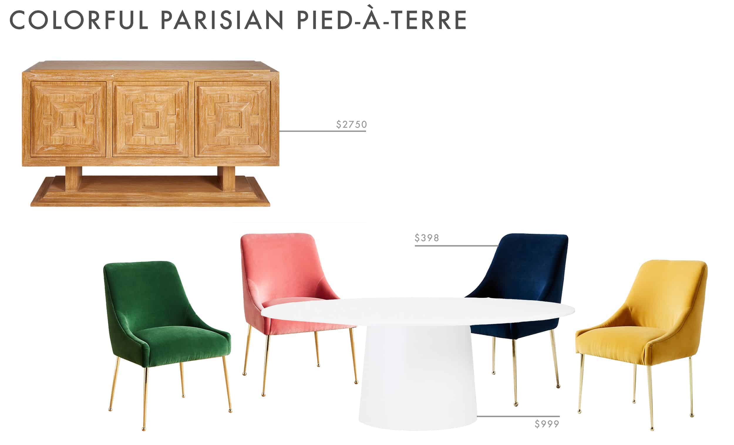 dining room ideas velvet chairs colorful white table wood credenza
