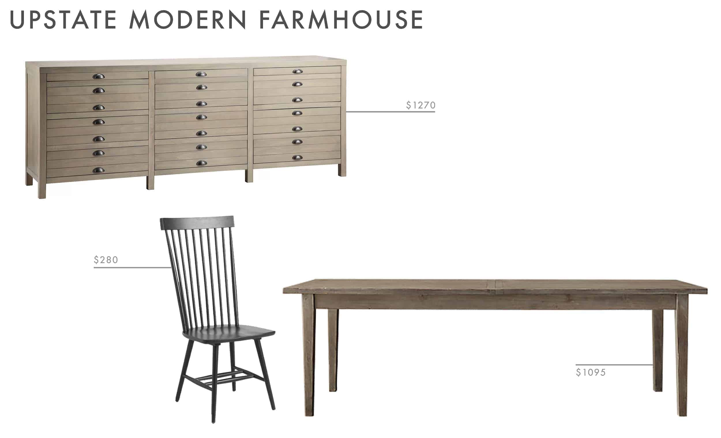 dining room ideas refined farmhouse black spindle chair wood credenza wood table