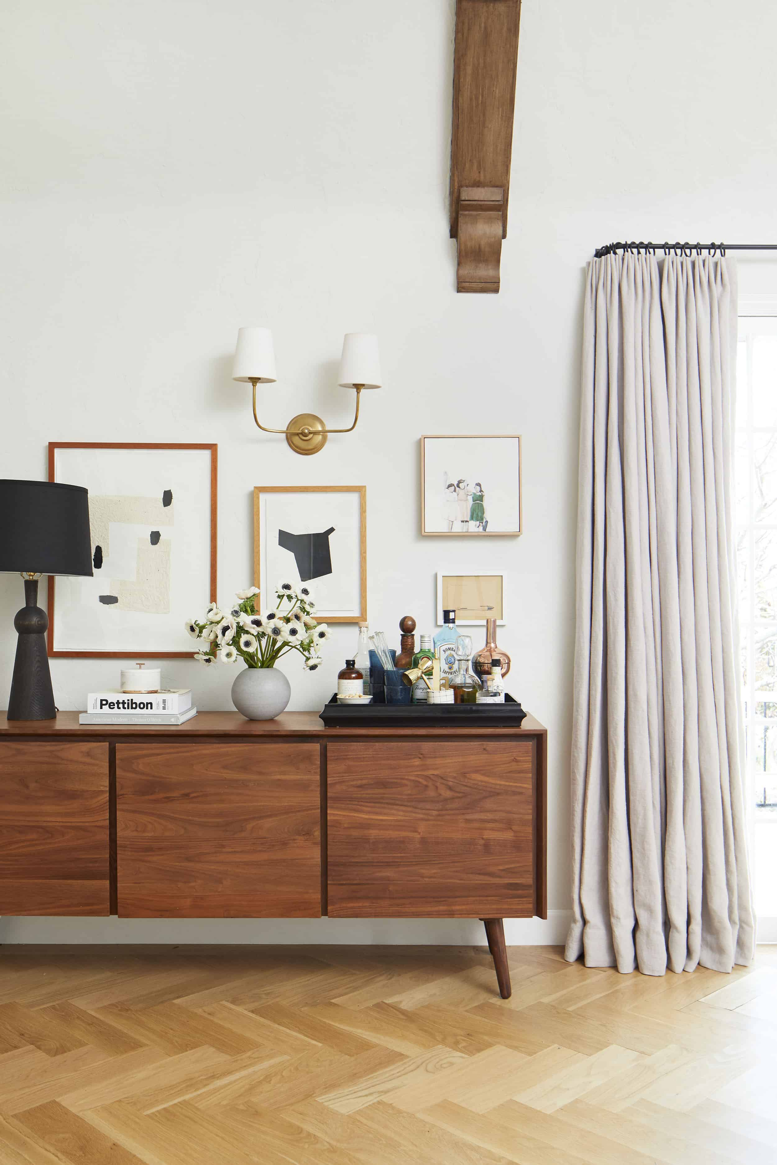 Living Room Gallery Wall Article Credenza Modern Art