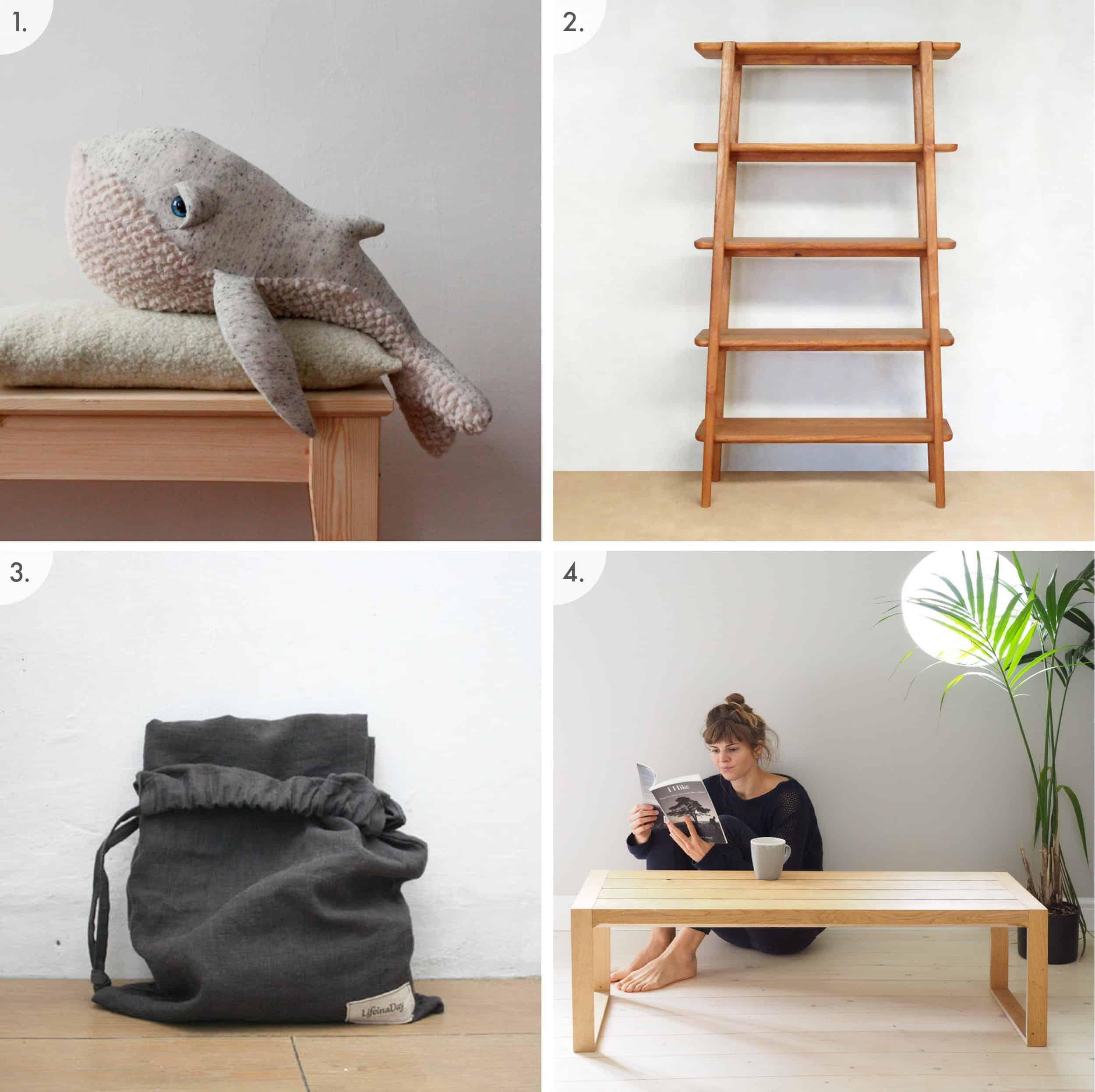 Whale Doll Midcentury Shelves Linen Picnic Blanket Minimal Modern Coffee Table