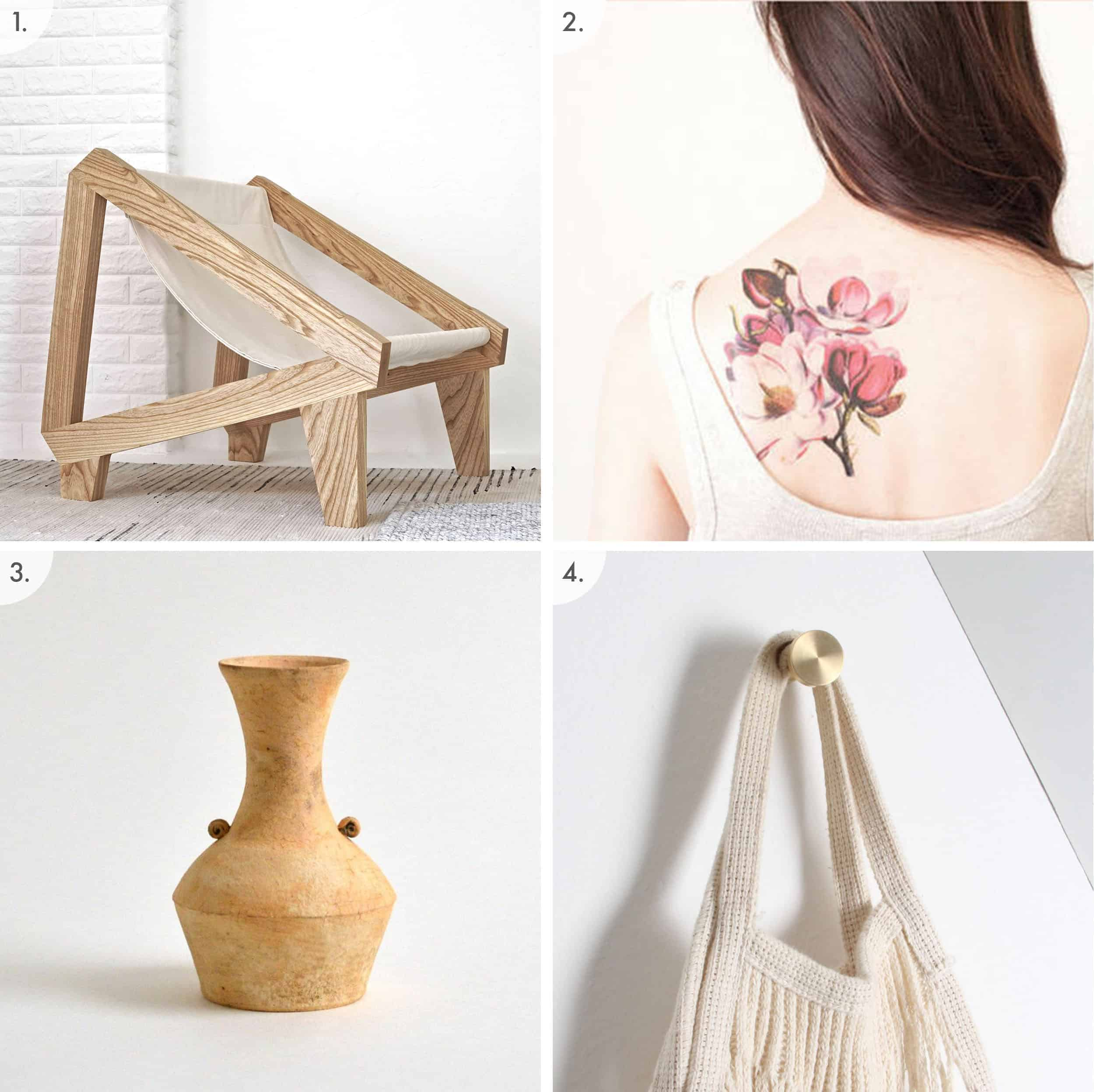 Wood And Canvas Chair Floral Temporary Tattoo Rustic Vase Brass Wall Hook
