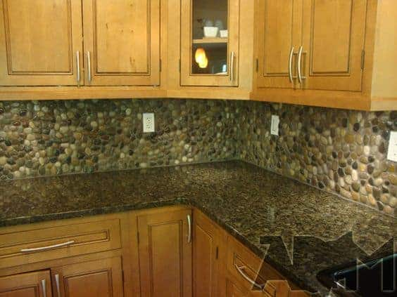River Rock Back Splash Kitchen