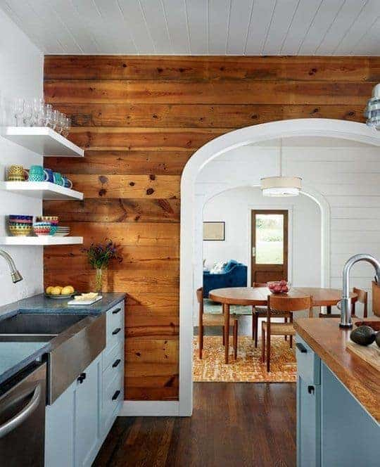 Wood Shiplap Wall Kitchen and Dining Room