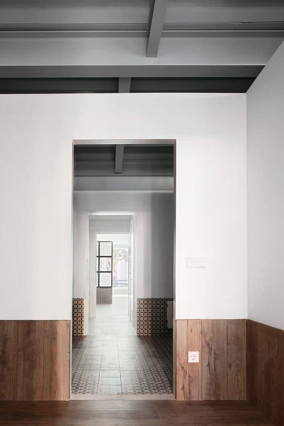 Wainscoting Wood Paneling Modern Hallway