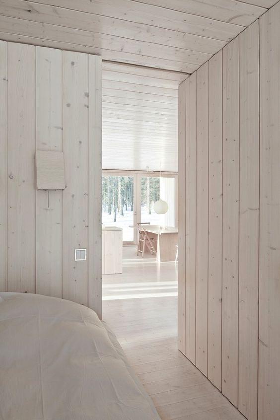 White Washed Wood Paneling