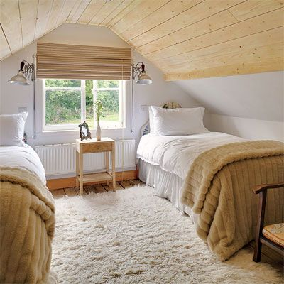 Wood Paneled Ceiling Twin Beds