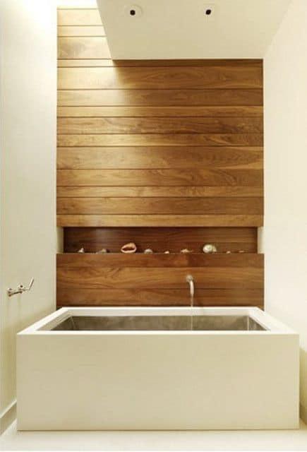 Modern Wood Bathtub Wood Paneled Wall