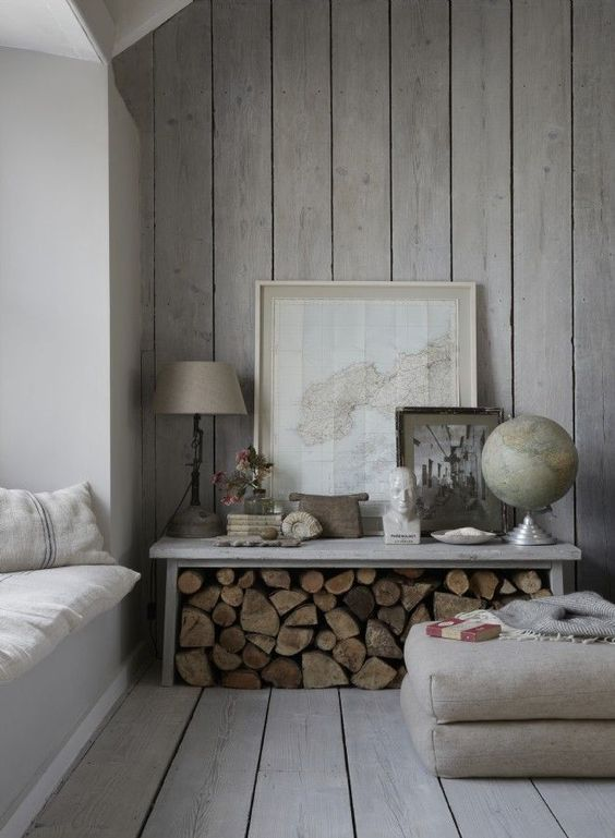 Rustic Wood Paneling With Stacks Of Wood