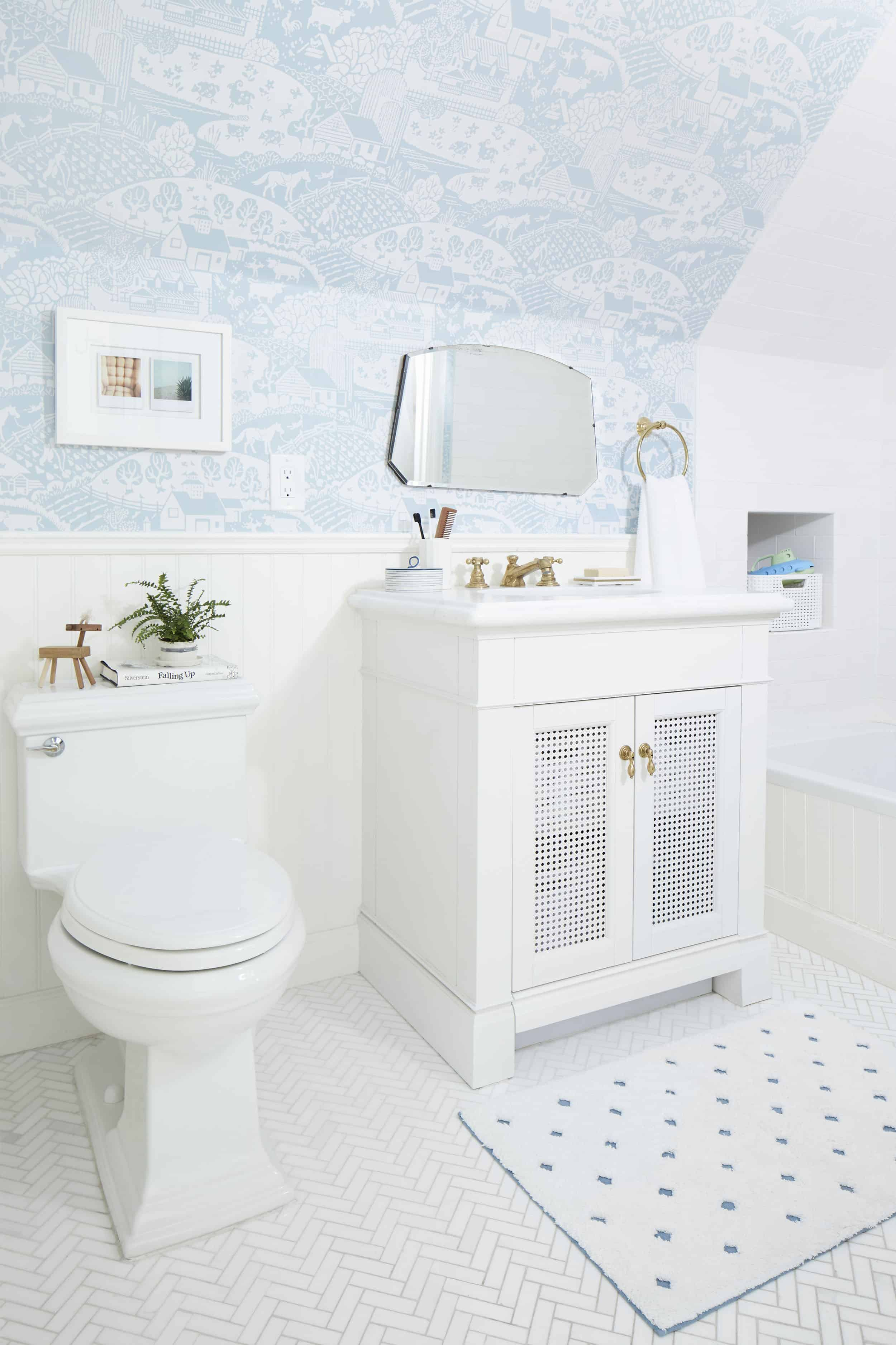 Cute Kids Bathroom Farrow And Ball Wallpaper Gable Pull Out Vanity