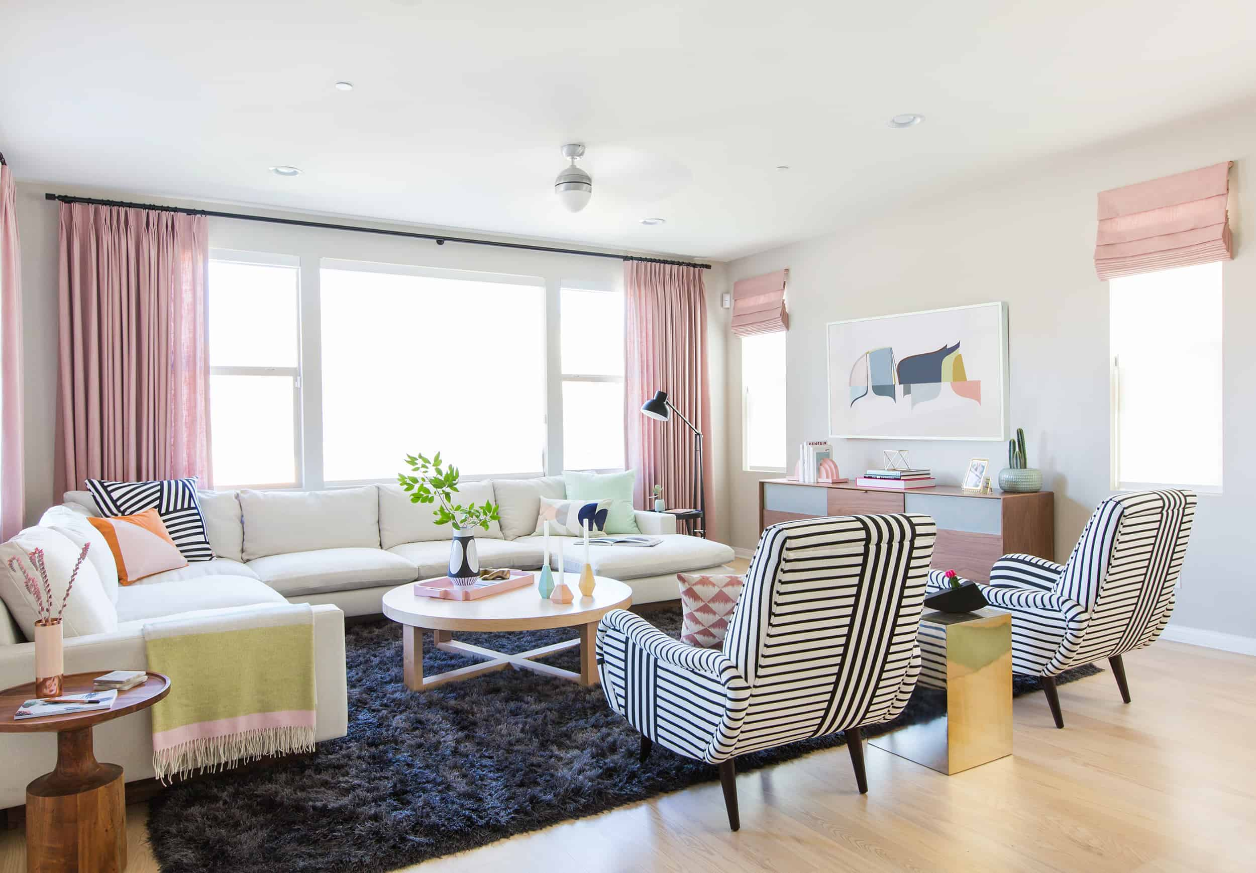 pink curtains living room modern pop