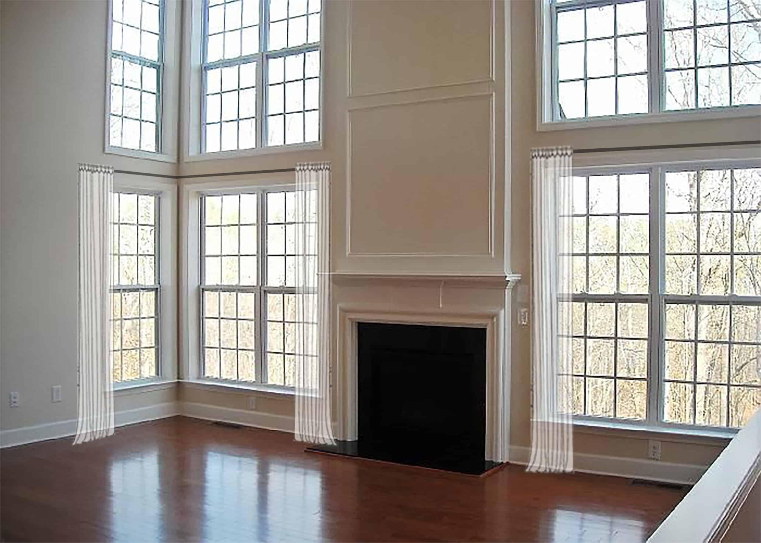 Emily Henderson Awkward Windows Wall Treatments Arched Windows Half Length 2