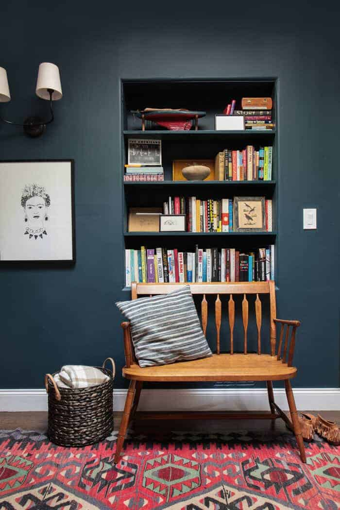 Emily Henderson Hague Blue Reading Nook Leather Chair Gallery Wall Bookshelves