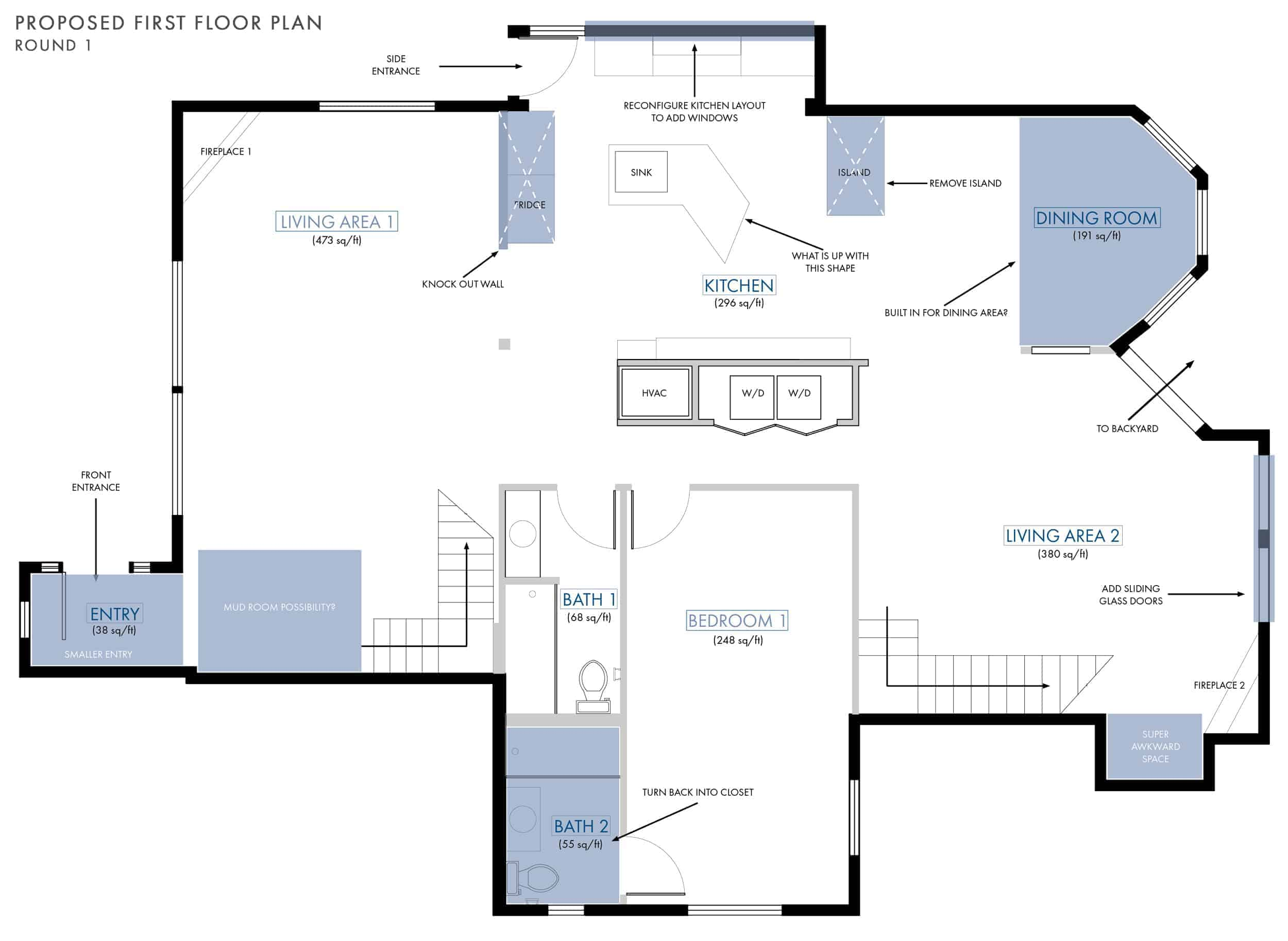 Emily Henderson Lake House Floor Plan First Floor Entire Floor Annotated Changes 01