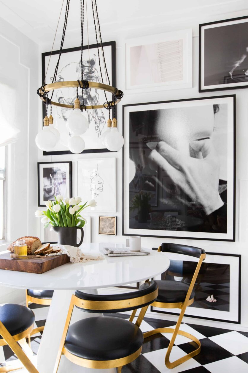 Emily Henderson Small Space Dining chandelier black and white photography