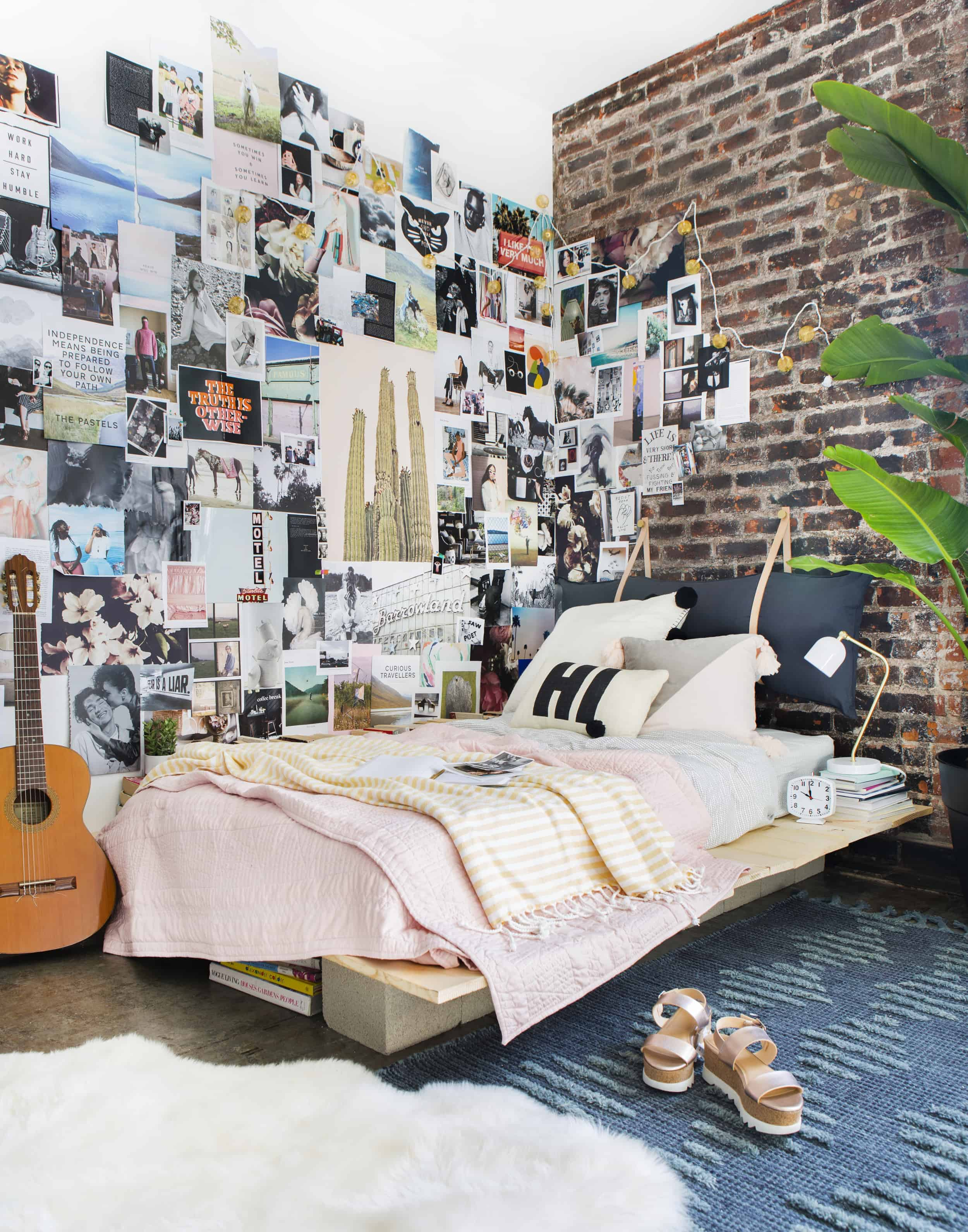 Emily Henderson Target Dorm Room Back To School Boho Eclectic Collage Wall Rocker Chic Musician Artistic Cinderblock Bed Leather Strap Headboard Diy