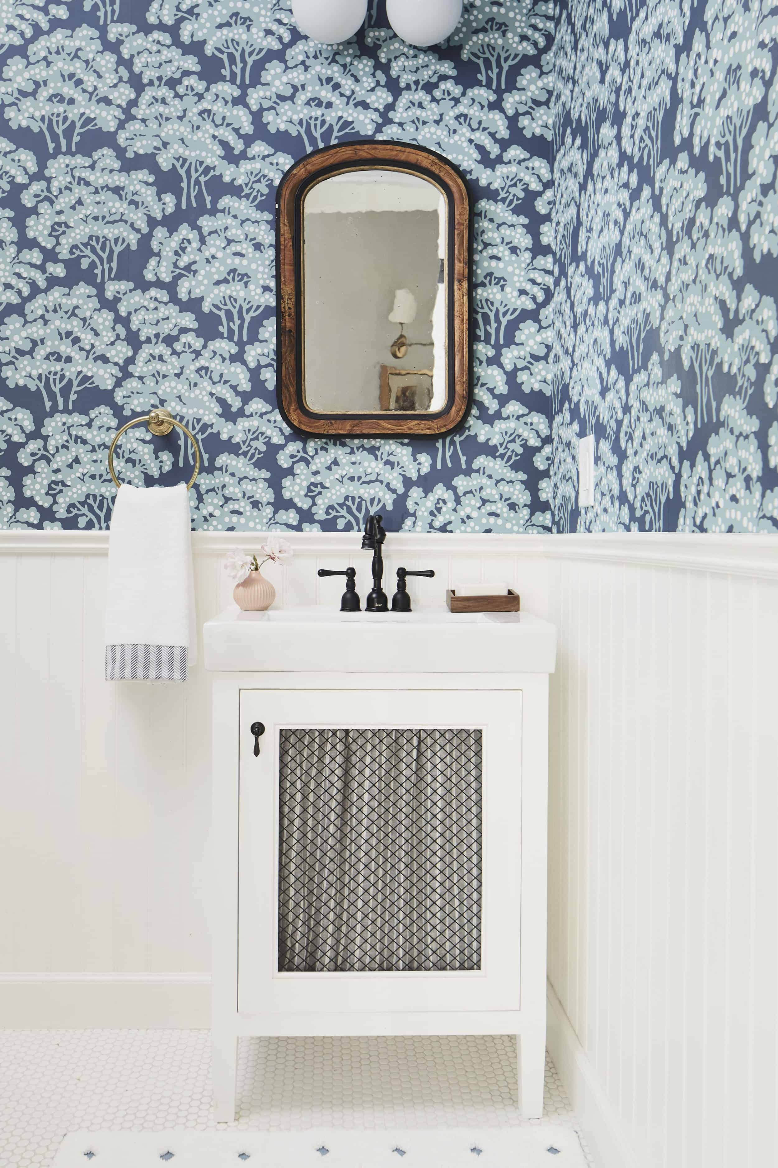 Farrow And Ball Wallpaper Blue Powder Room Traditional Vanity
