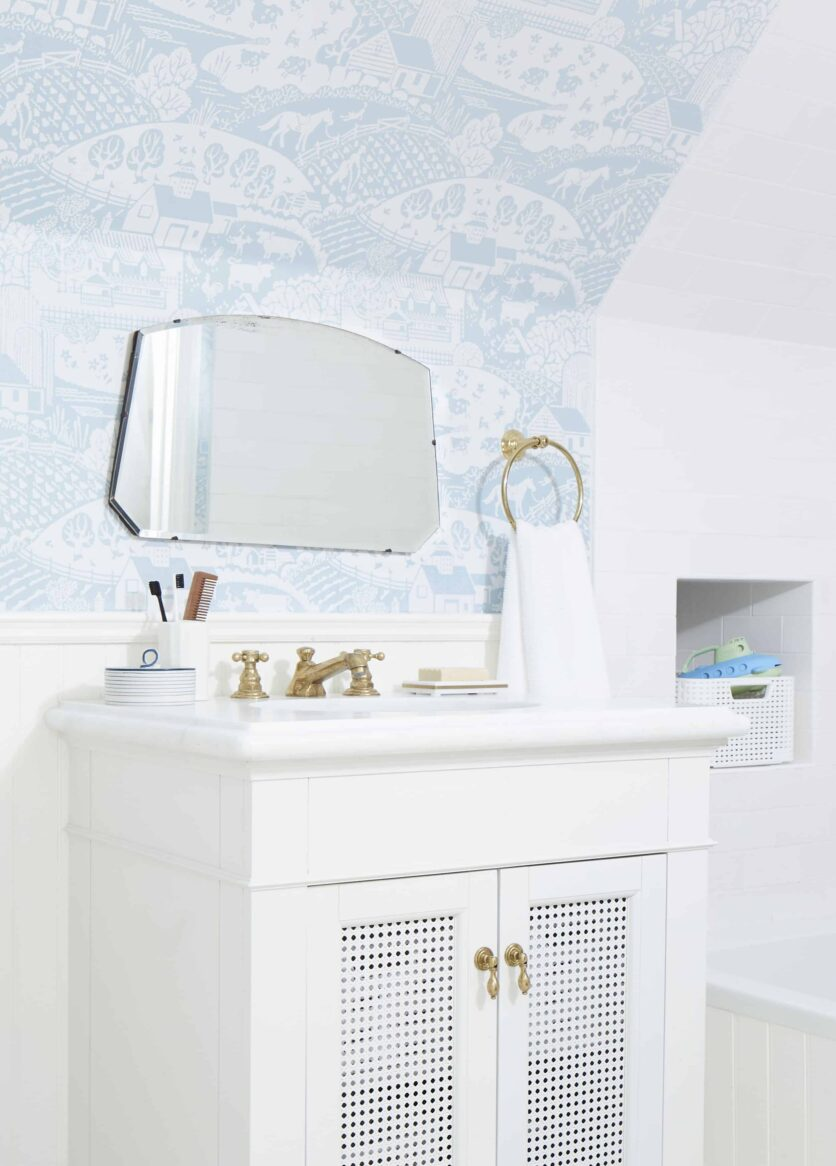 Farrow And Ball Wallpaper Kids Bathroom Cute White Vanity