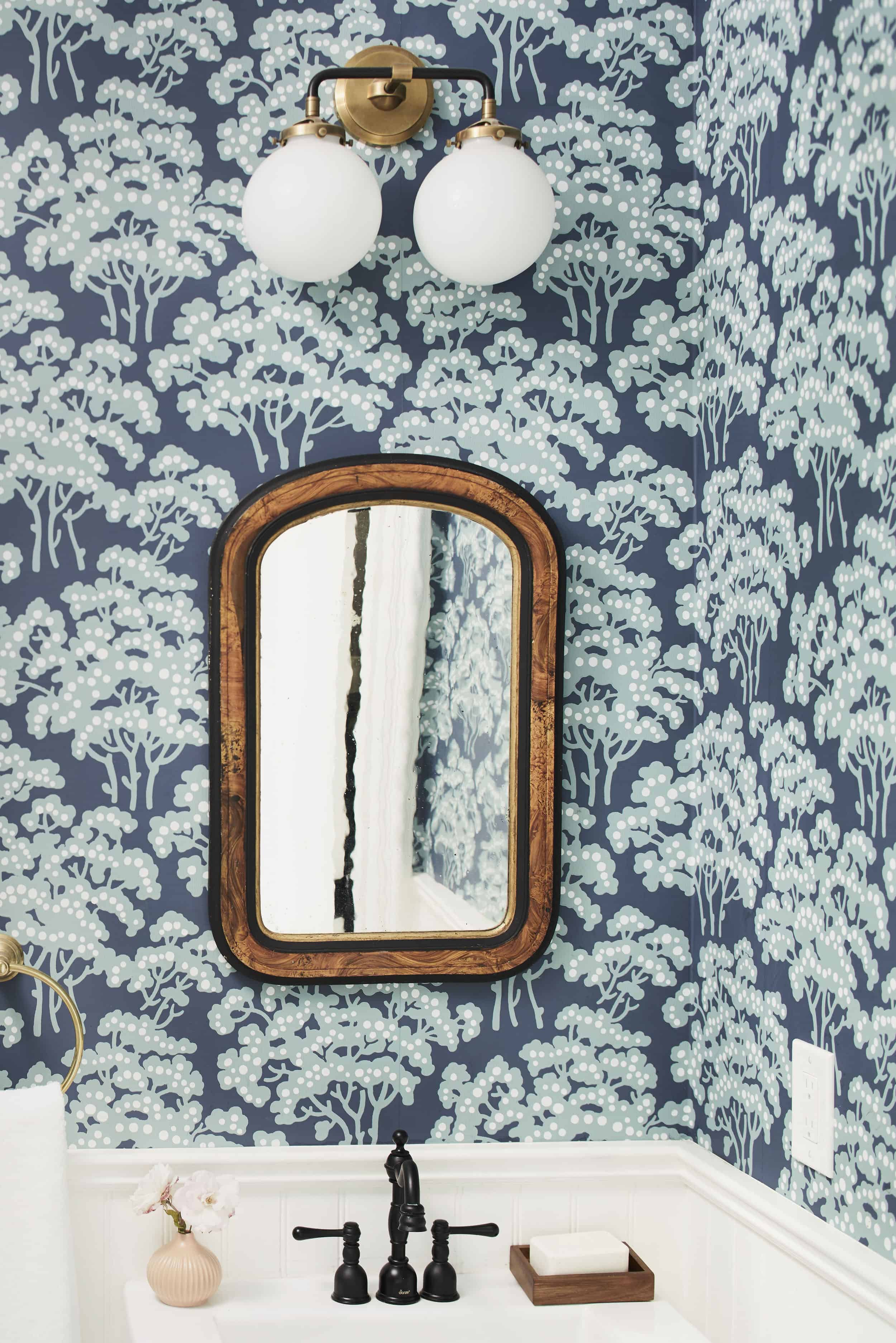Hand Screened Wallpaper Vintage Mirror Black Faucet Emily Henderson