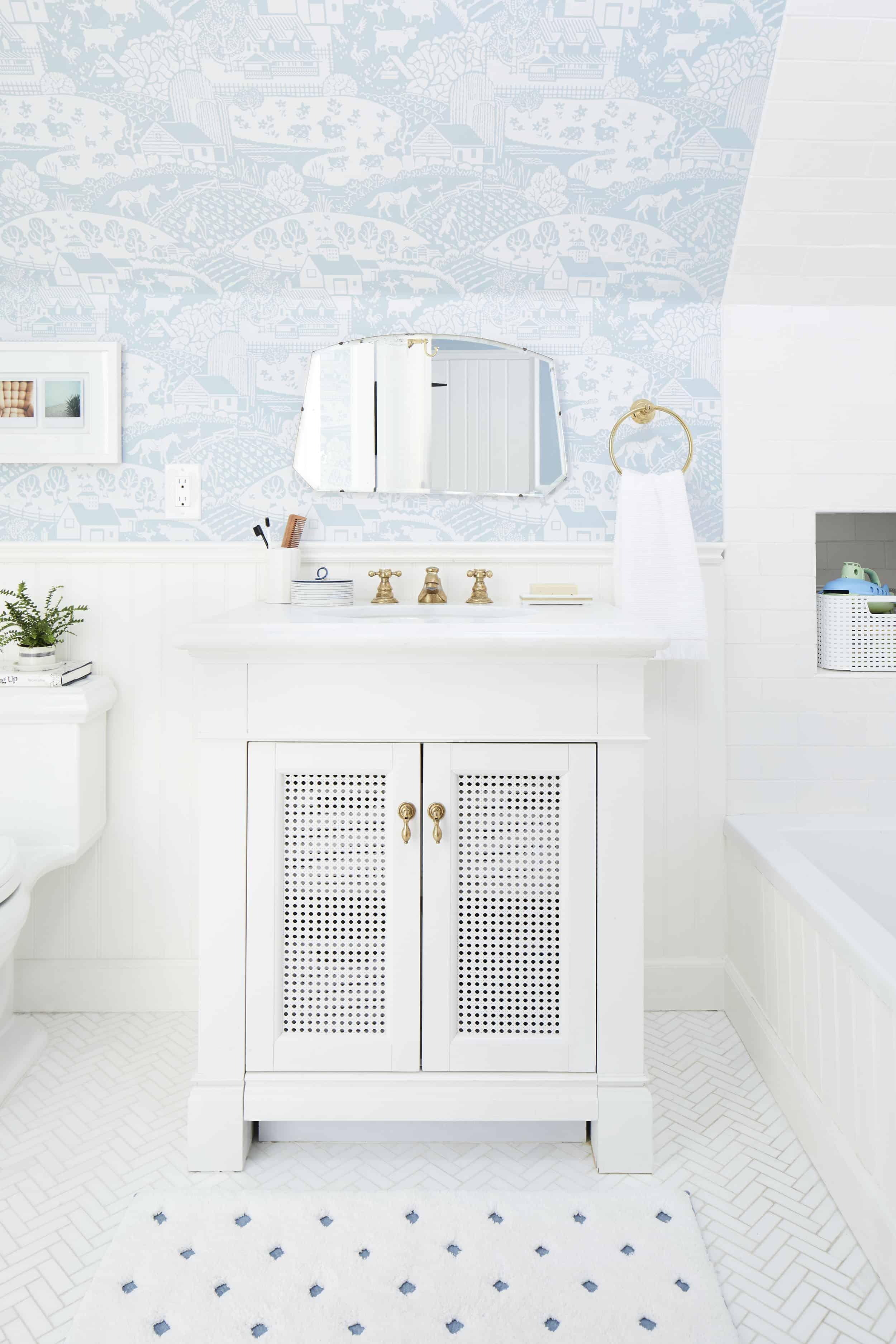 Kids Pull Out Vanity Childrens Bathroom Wallpaper