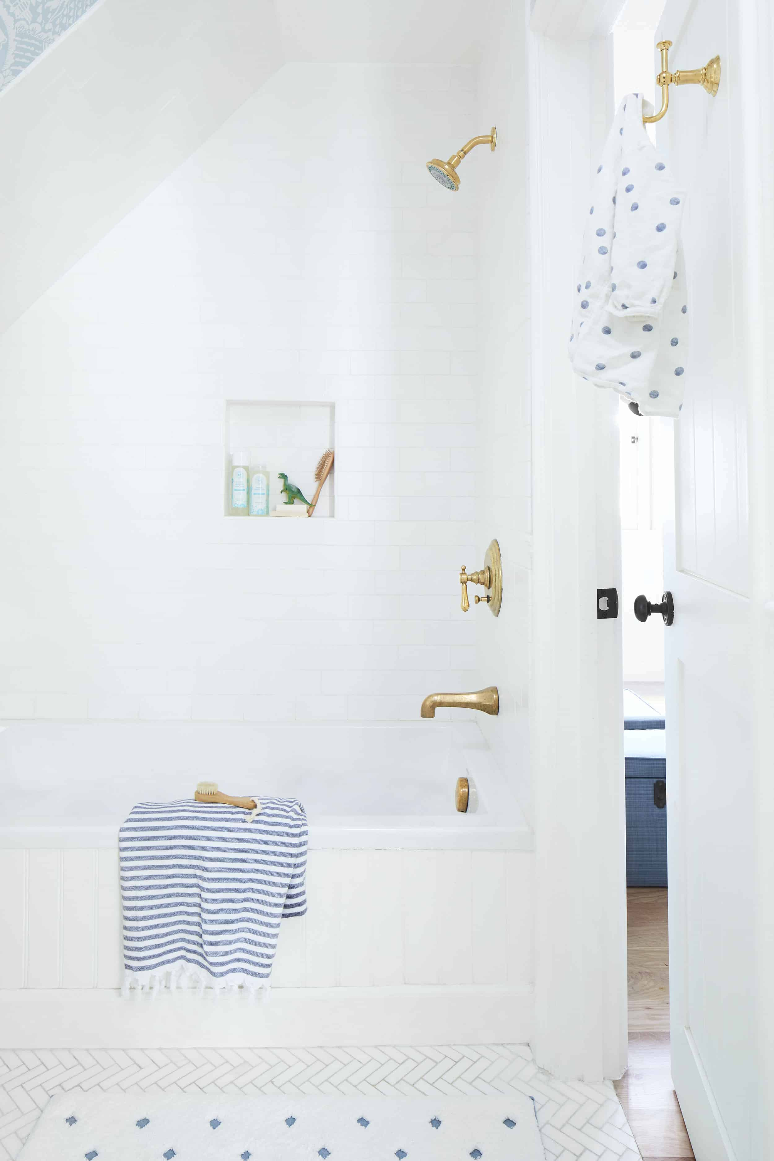 Kids Tiled Shower Tub Gold Bathroom Fixtures Herringbone Tile