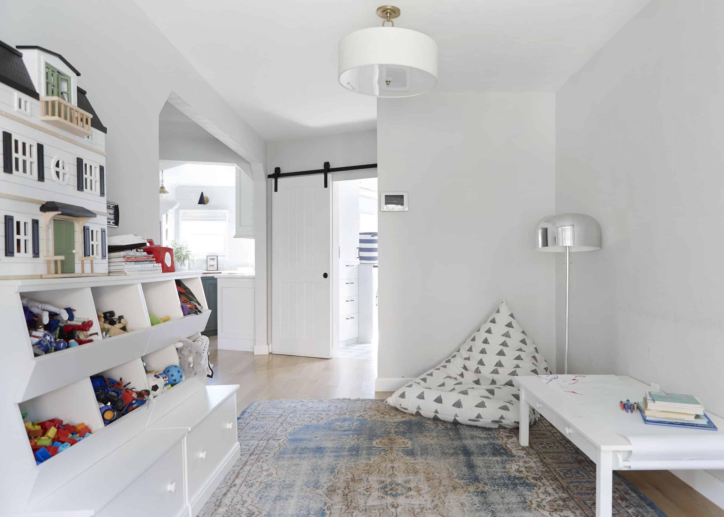 Kids Sophisticated Playroom Makeover Open Floor Plan