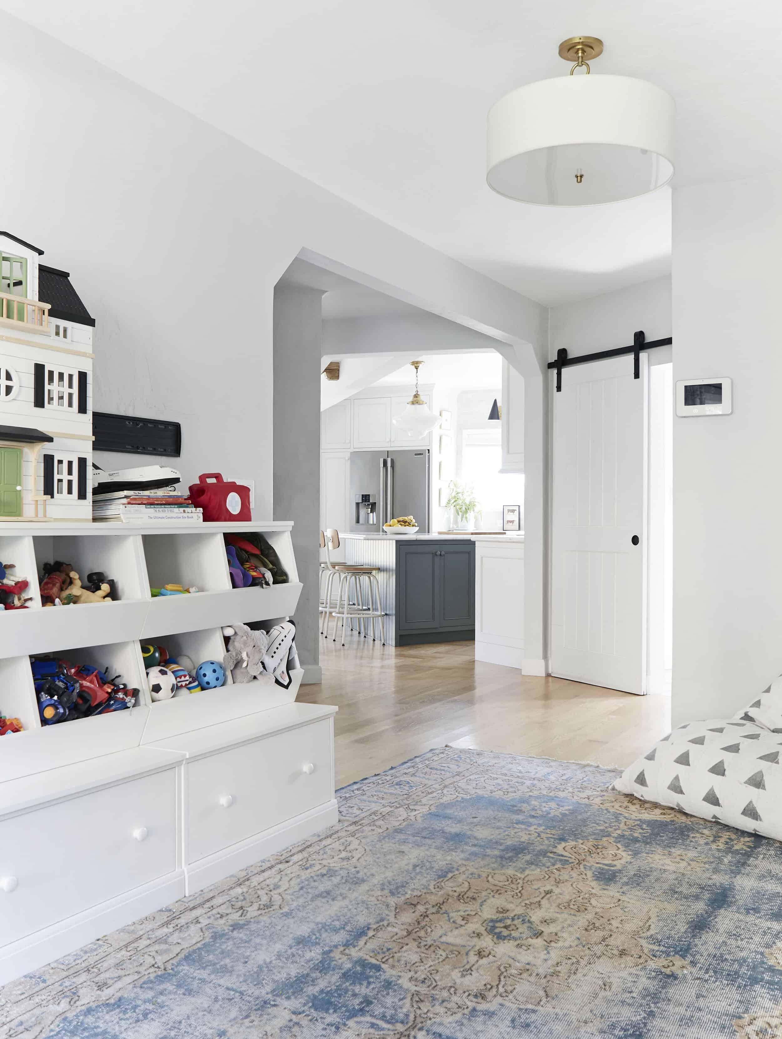 Open Floor Plan Kitchen Playroom Circa Lighting Pendent Tudor Style Home