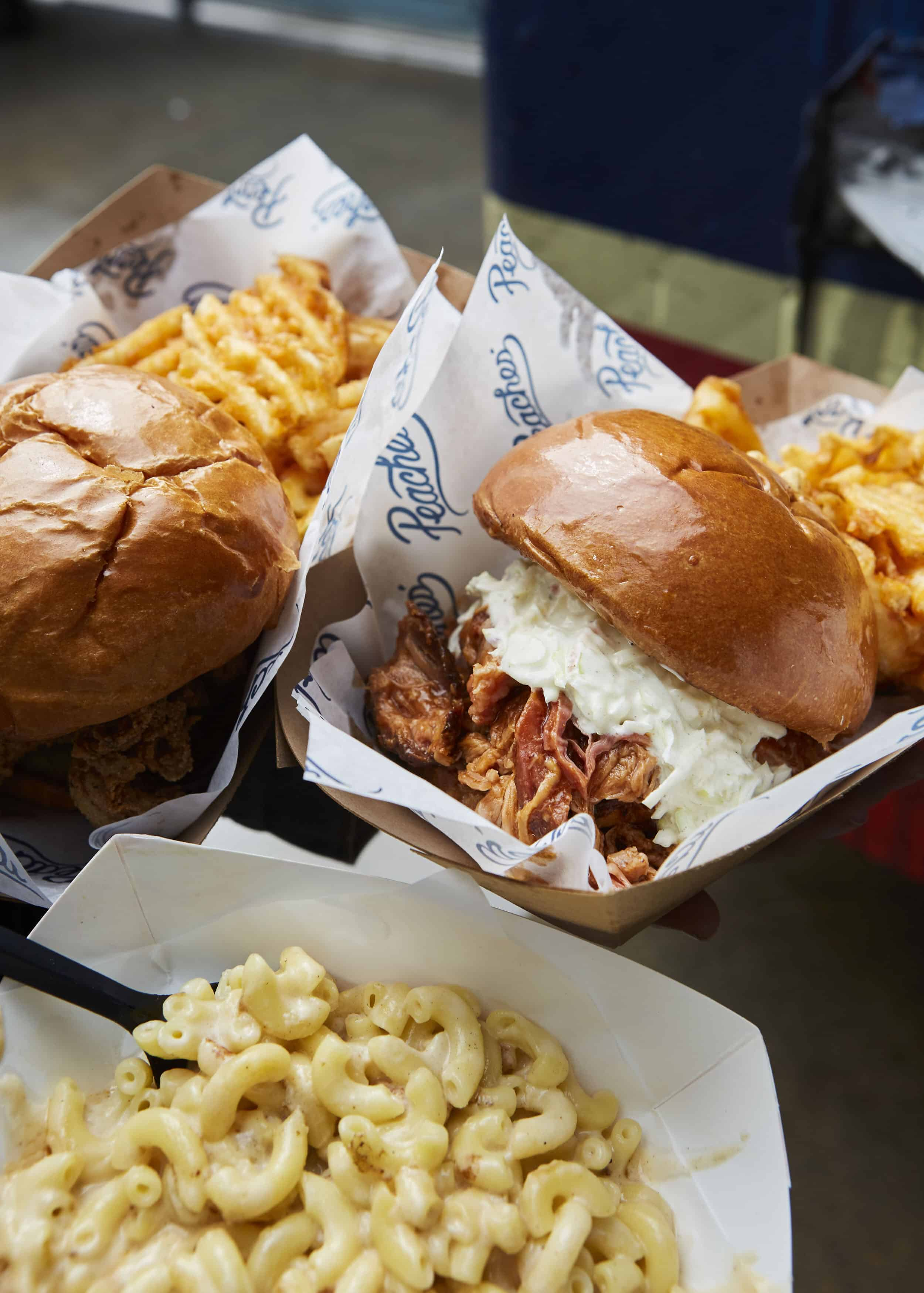 Peaches Bbq Pulled Pork Mac And Cheese Fried Chicken Sandwhich