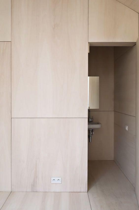 Plywood Wall Paneled Bathroom Modern