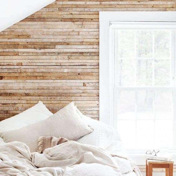 Wood Paneled Walls Bedroom White Window Bright
