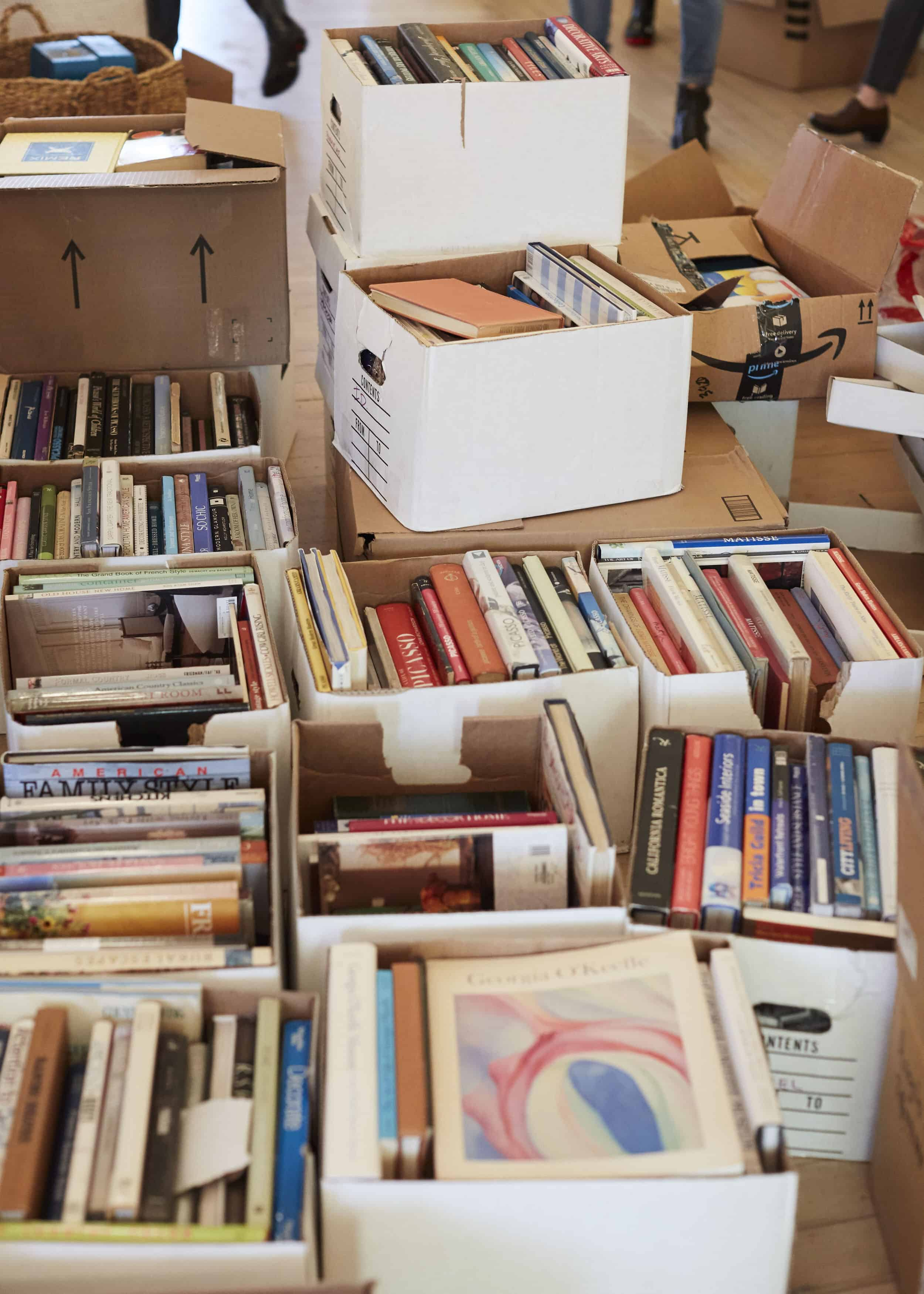 Denmobler Boxes Of Donated Books