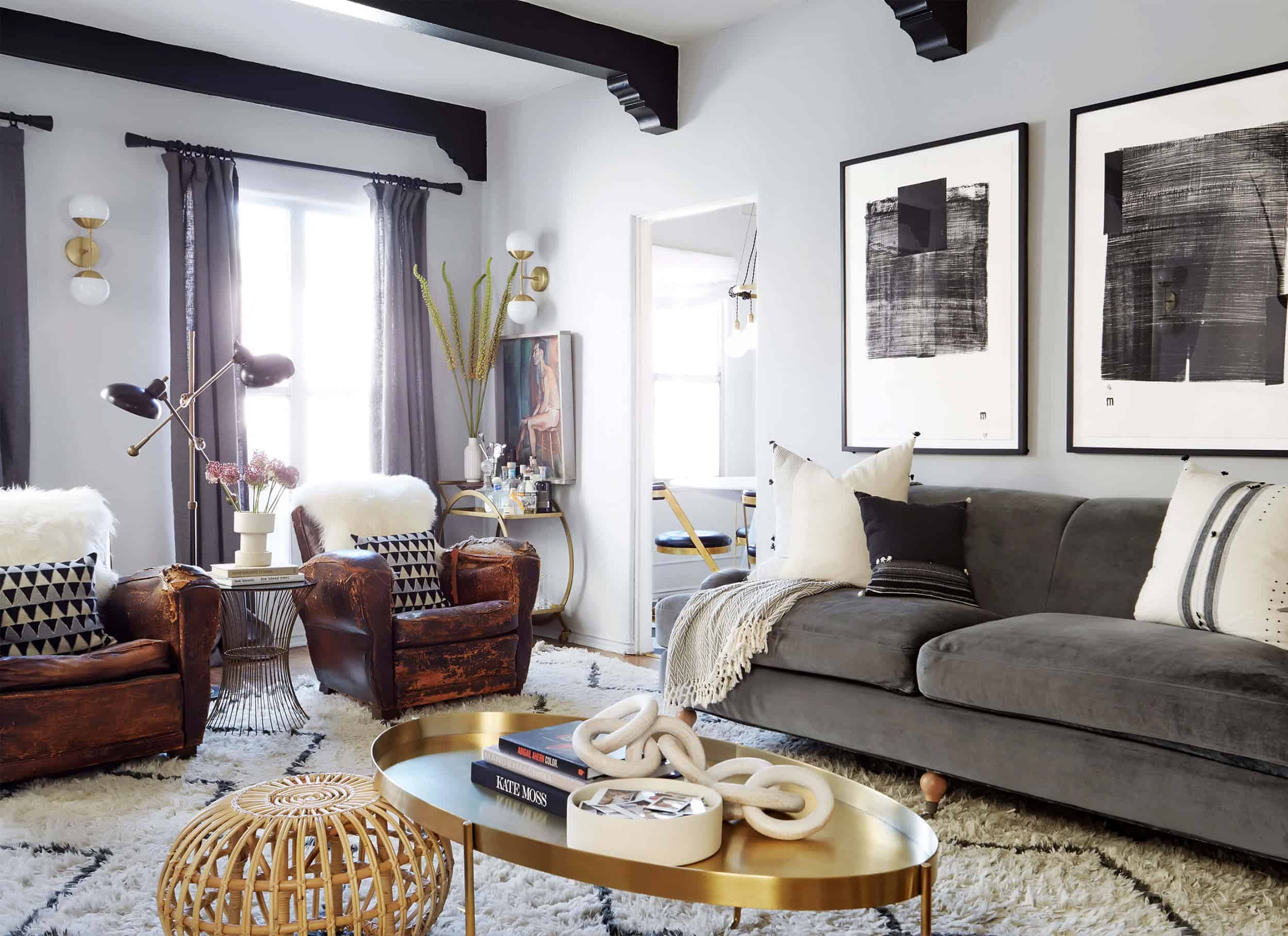 Brady Tolbert Design Emily Henderson Living Room Eclectic Pavillion Grey Farrow And Ball Brass Coffee Table English Roll Arm Albini Masculine Traditional West Elm Souk Flokati Leather 41