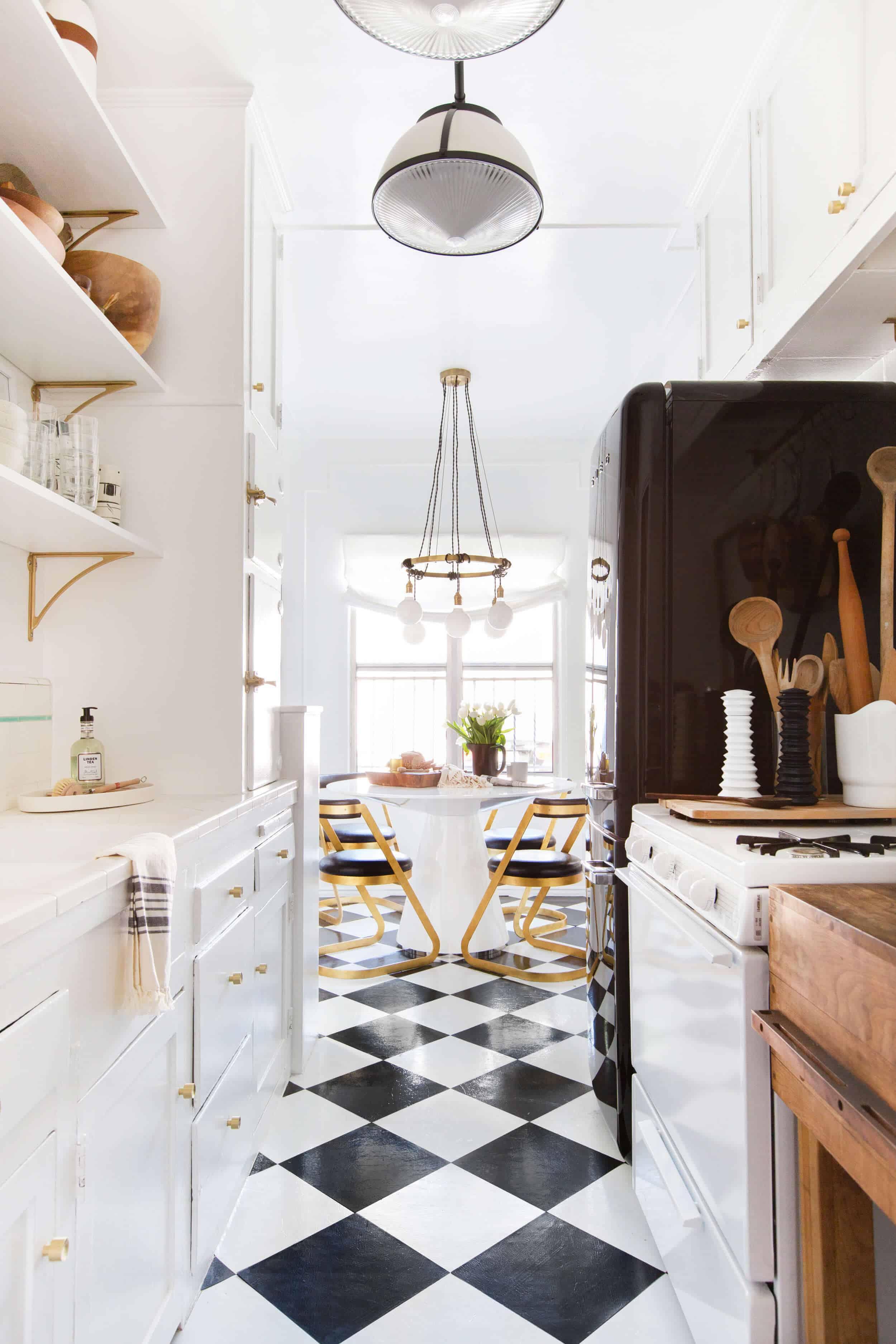 black an white kitchen removable floor tiles