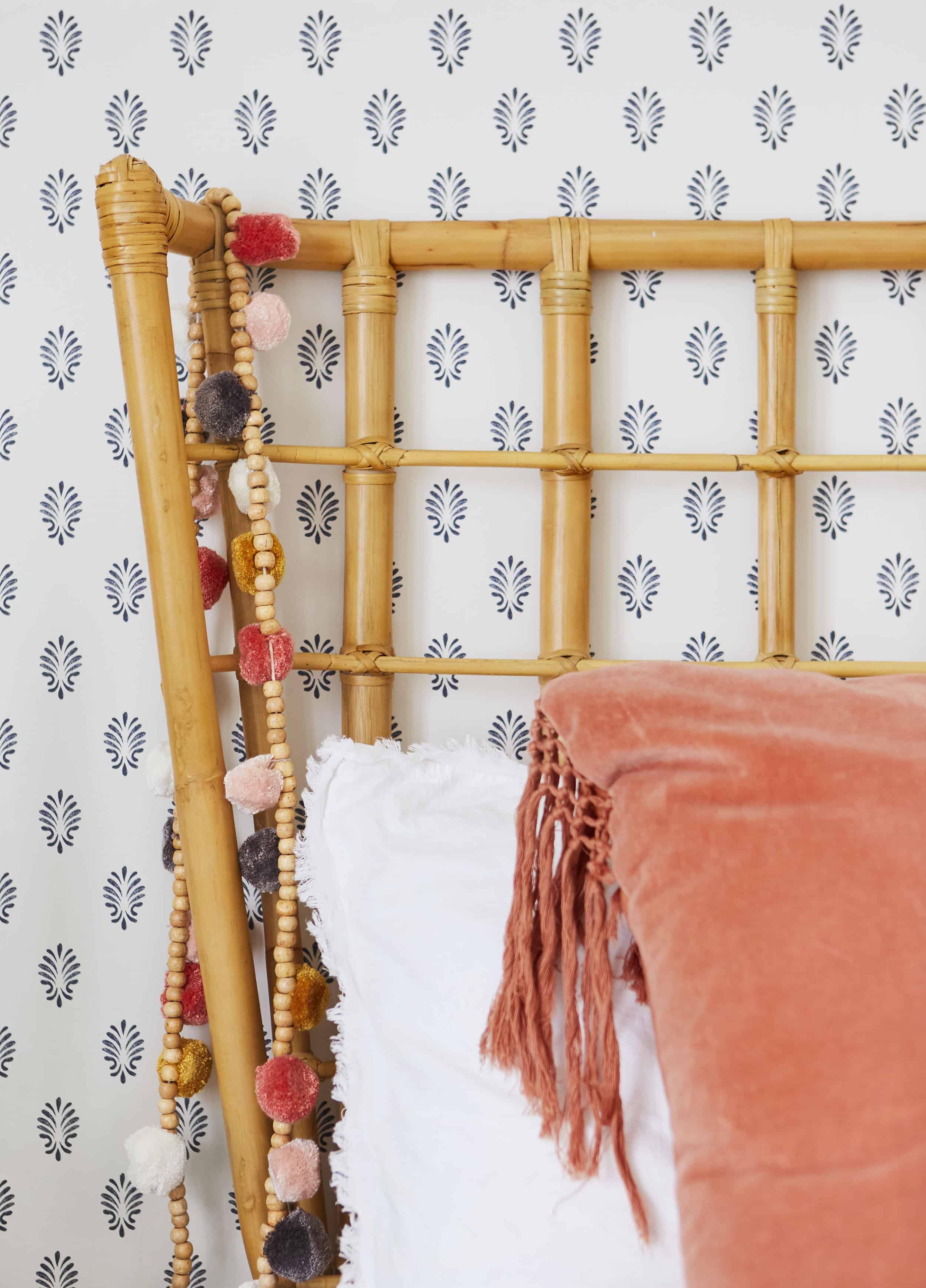 Eclectic Bedroom Rattan Headboard