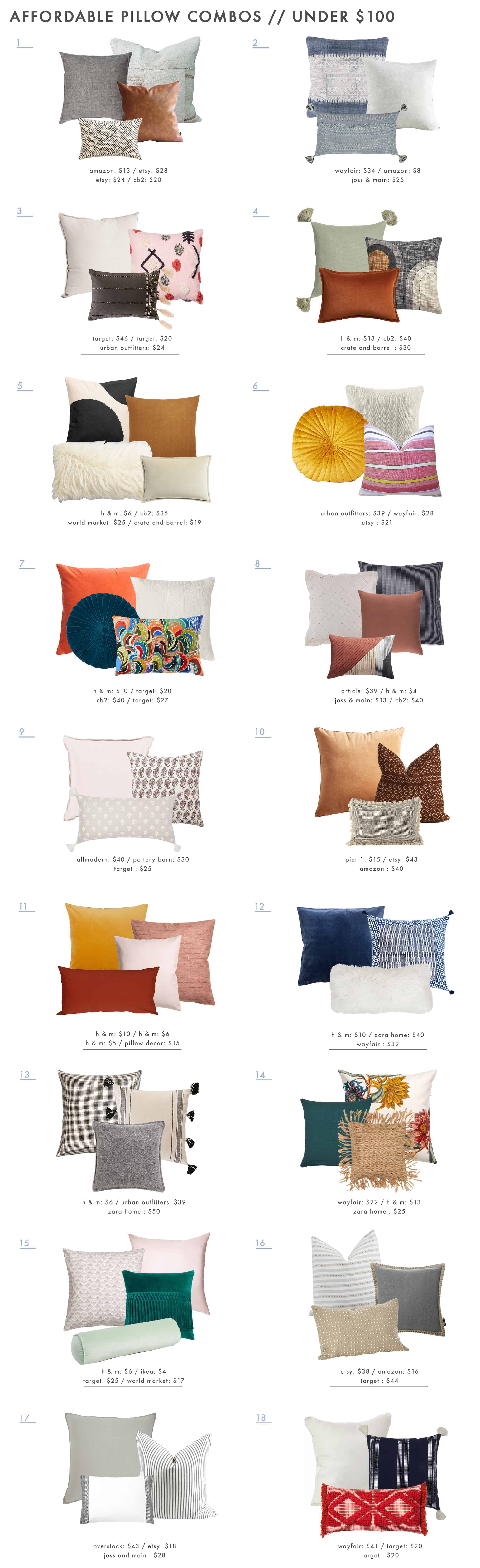 Emily Henderson Affordable Pillow Combos Roundup1