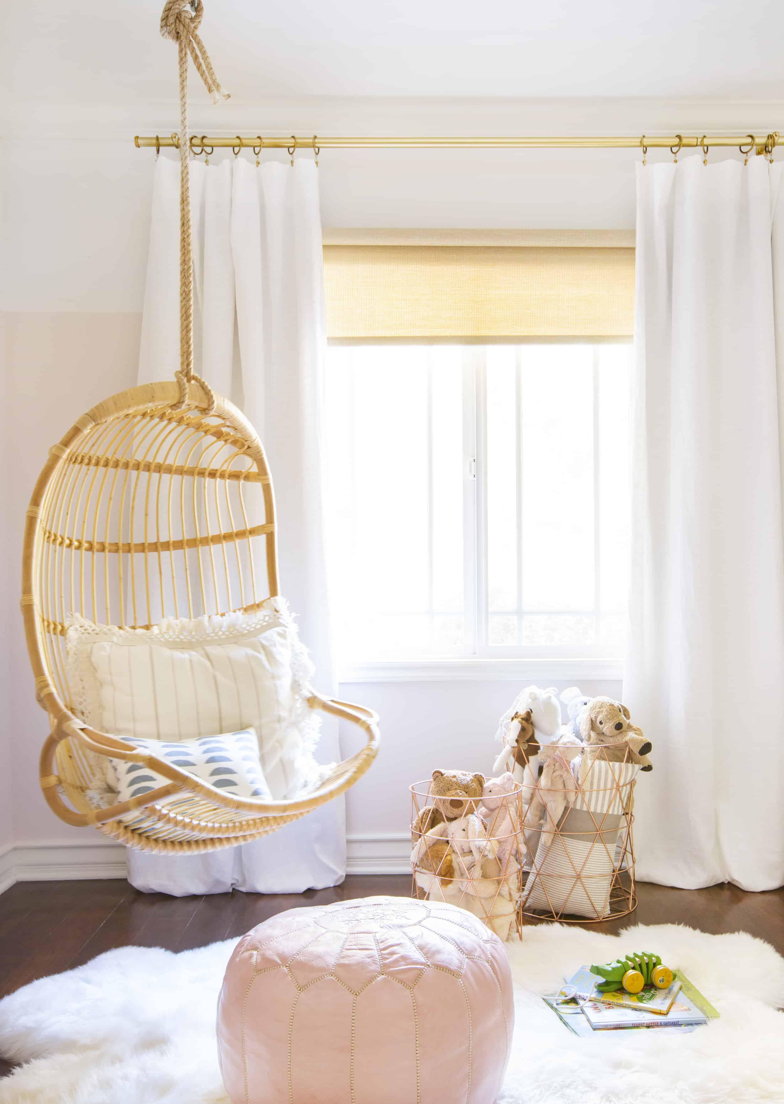 rattan swing chair little girls room