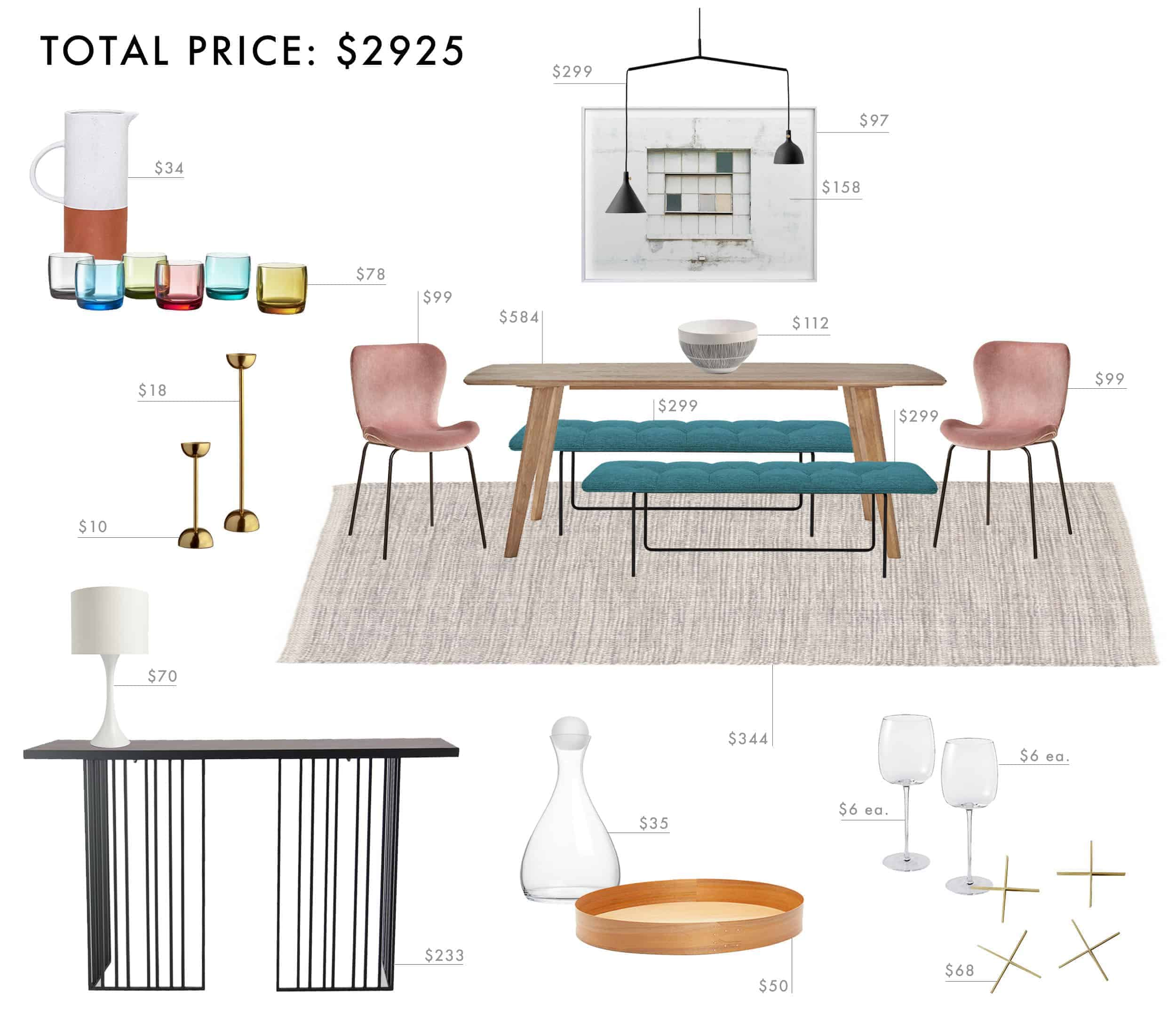 Emily Henderson Budget Room Design Colorful Mid Century Modern Dining Room Under 3000