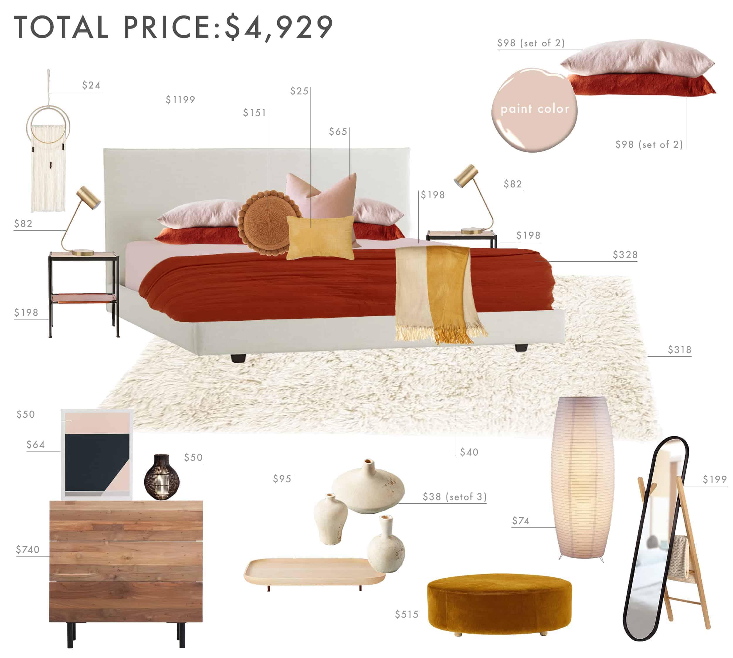 Emily Henderson Budget Room Bedroom Rust Pink Mustard Bedroom 5k