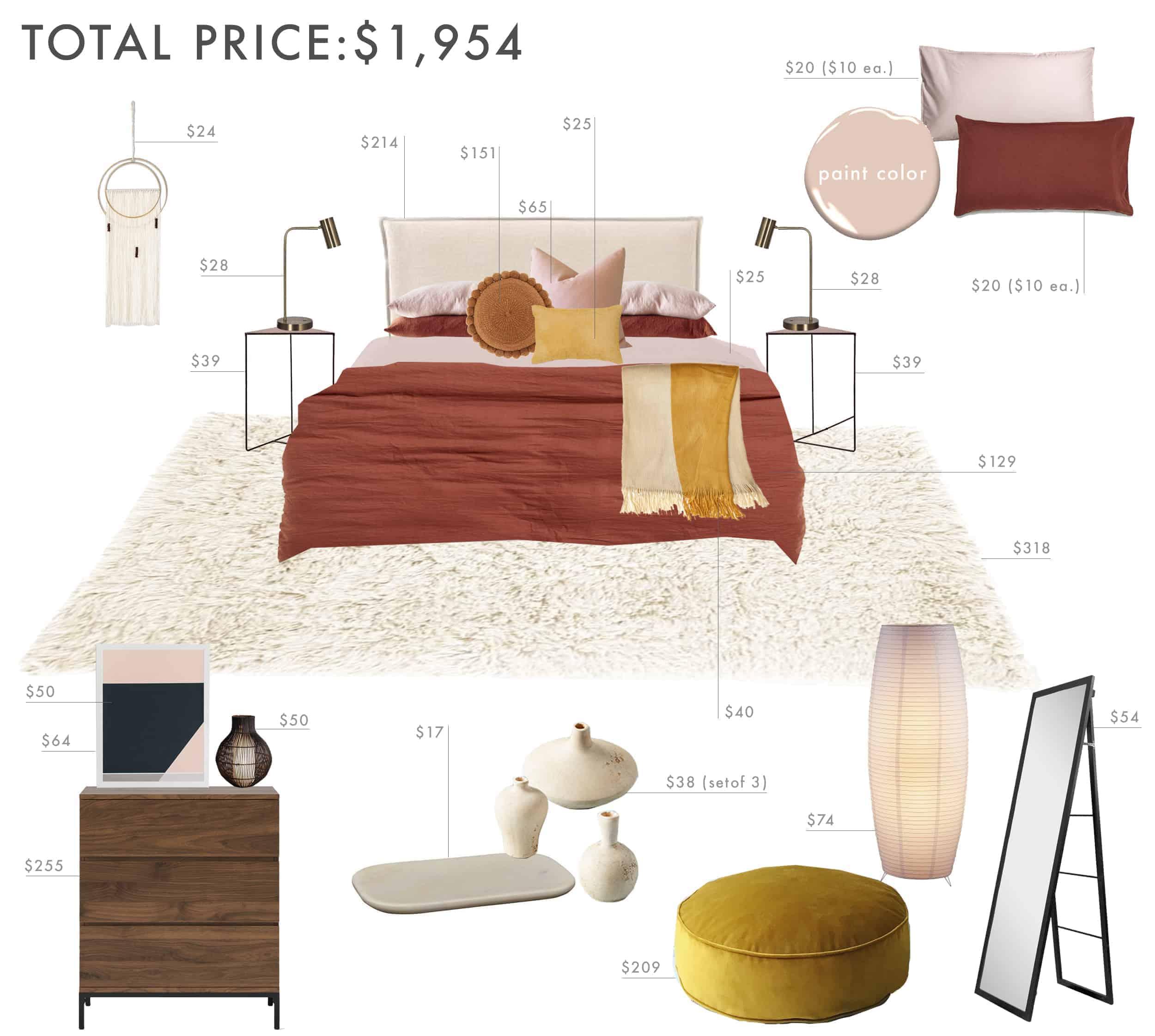 Emily Henderson Budget Room Bedroom Rust Pink Mustard Bedroom Under 2k